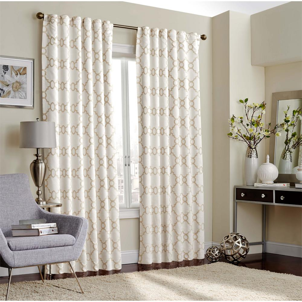 Eclipse Correll Blackout Window Curtain Panel In Ivory - 52 with regard to Luxury Collection Venetian Sheer Curtain Panel Pairs (Image 9 of 20)