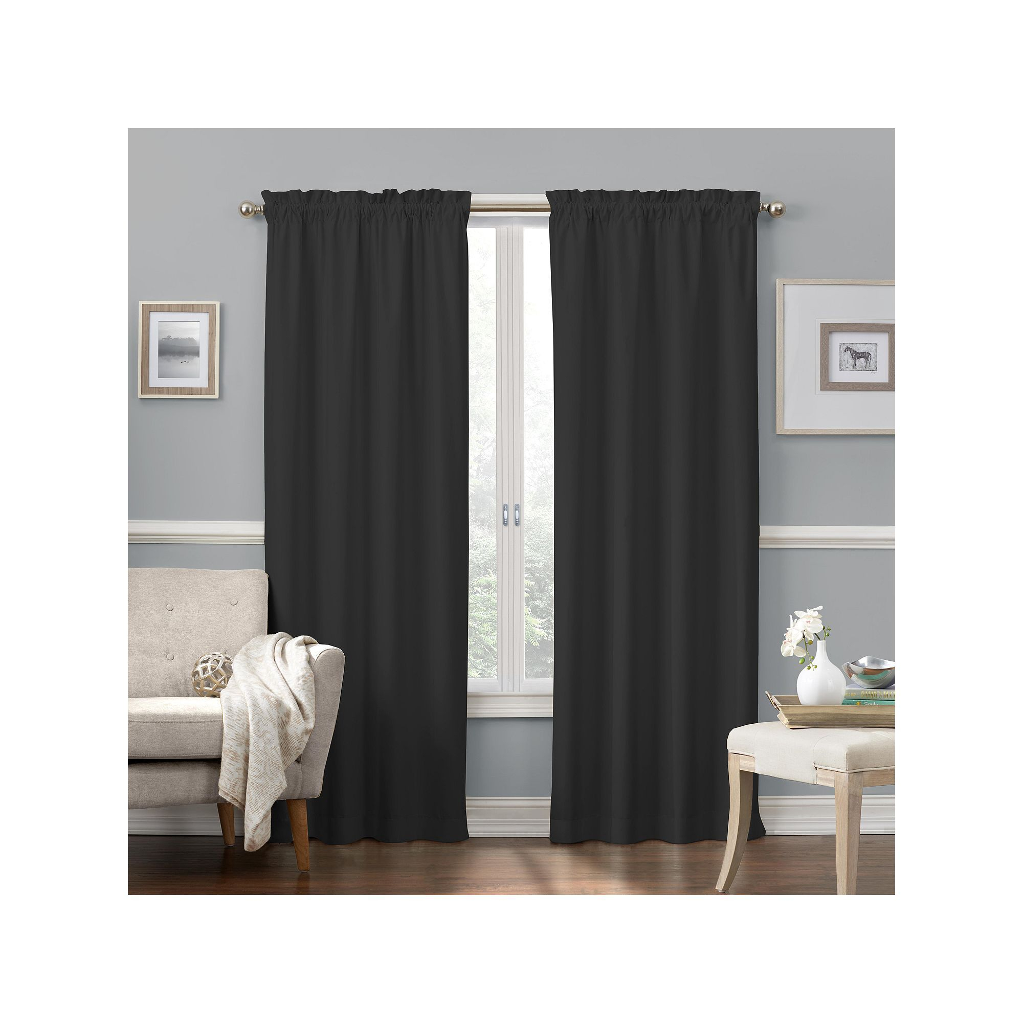 Eclipse Faux Suede Thermaback Blackout Window Curtain For Thermaback Blackout Window Curtains (View 5 of 30)