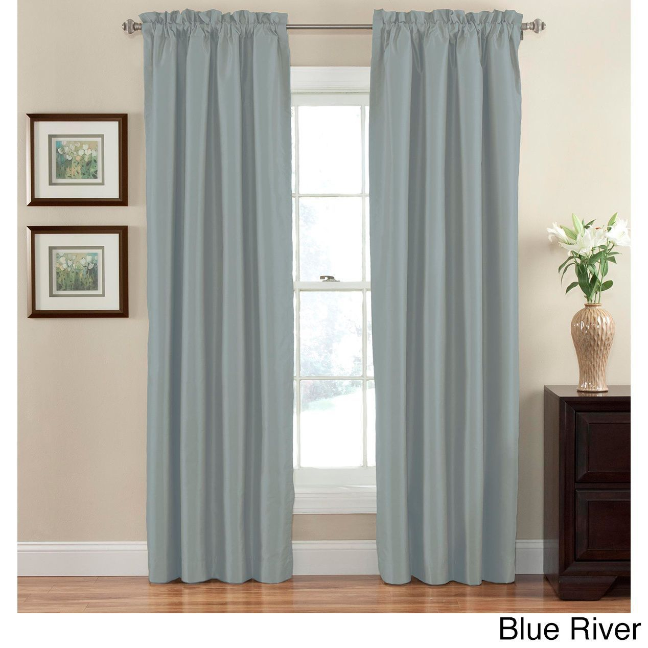 Eclipse Hayden Solid Blackout Curtain Panel (blue River, 95 Intended For Hayden Rod Pocket Blackout Panels (View 14 of 20)