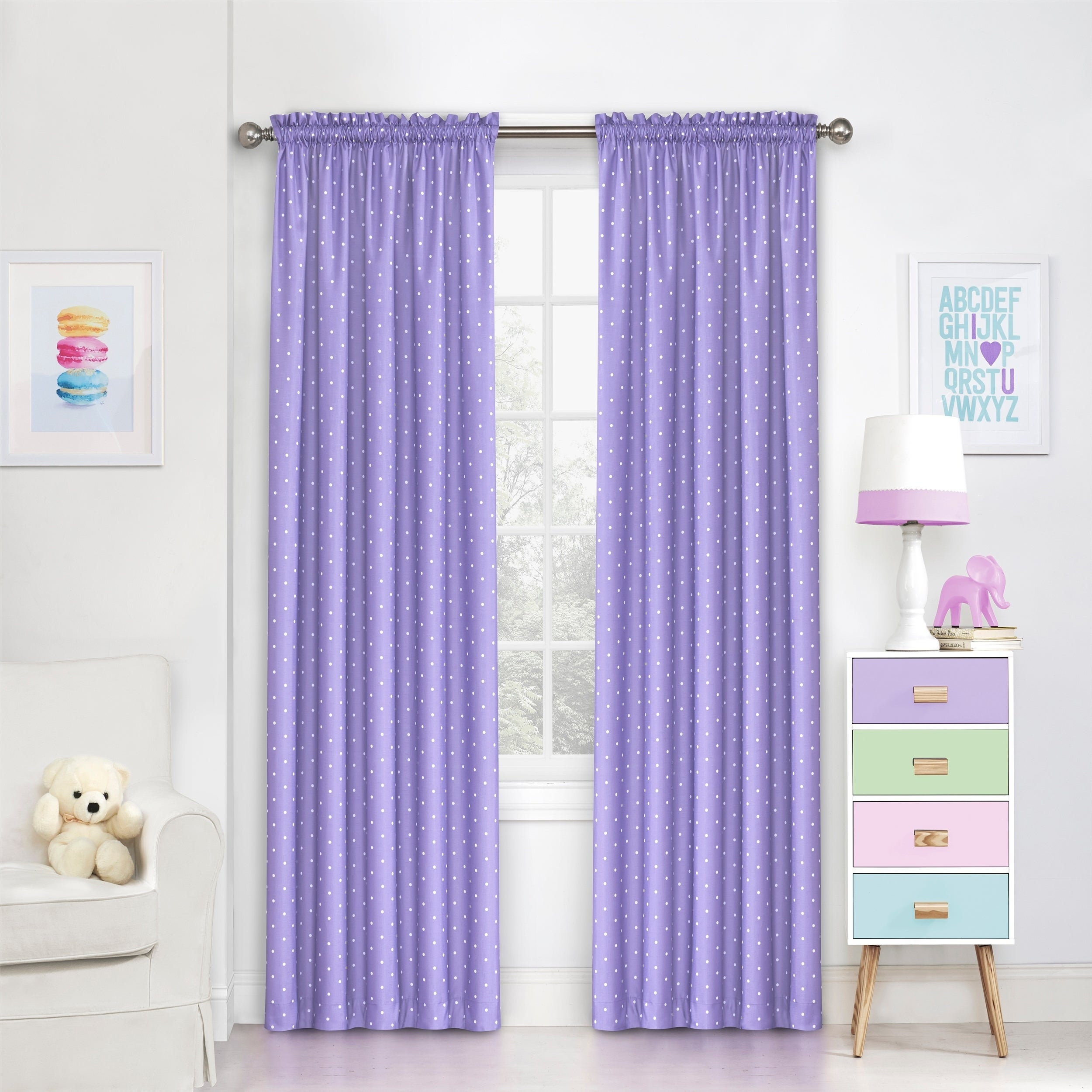 Eclipse Kids Polka Dots Room Darkening Window Curtain Panel Pertaining To Elrene Aurora Kids Room Darkening Layered Sheer Curtains (View 8 of 20)