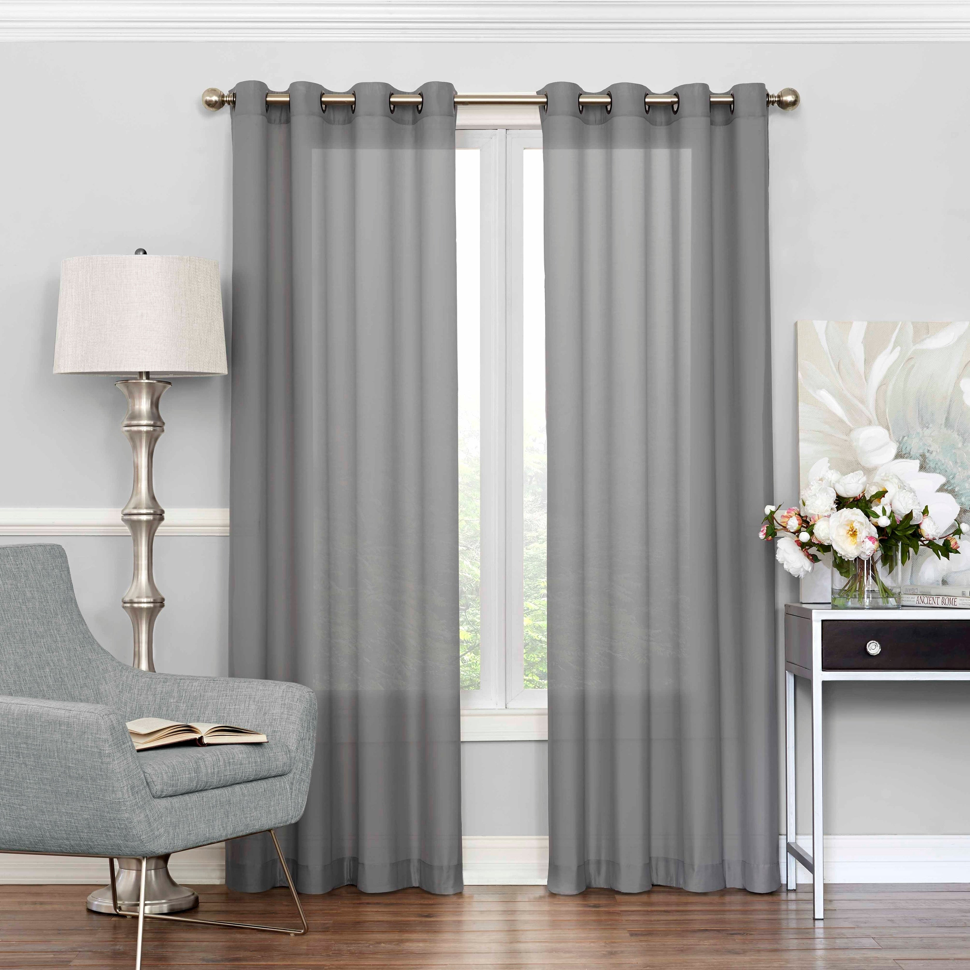 Eclipse Liberty Light Filtering Sheer Single Curtain Panel Throughout Light Filtering Sheer Single Curtain Panels (View 2 of 20)