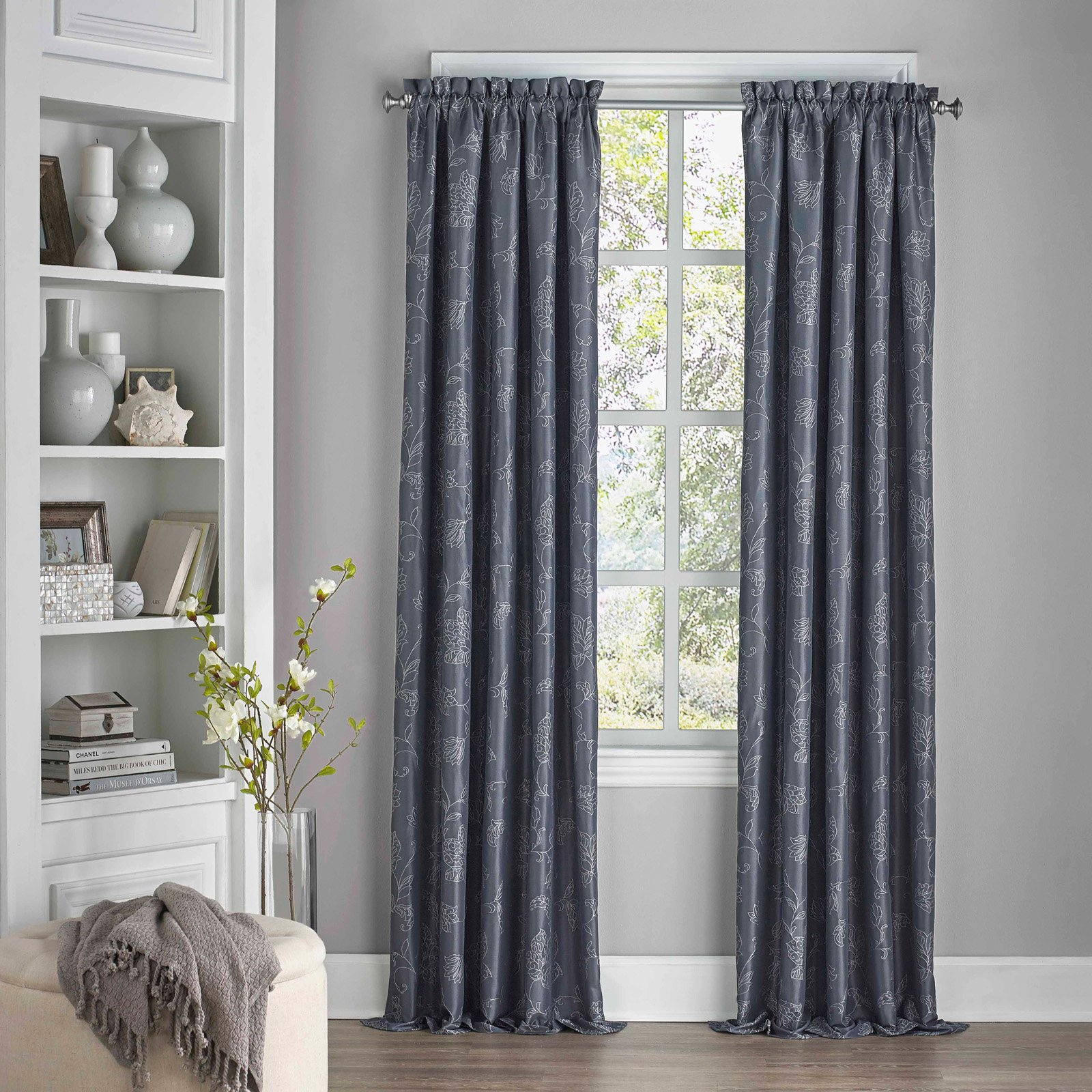 Eclipse Mallory Blackout Floral Curtain Midnight | Products Throughout Sunsmart Dahlia Paisley Printed Total Blackout Single Window Curtain Panels (View 9 of 30)