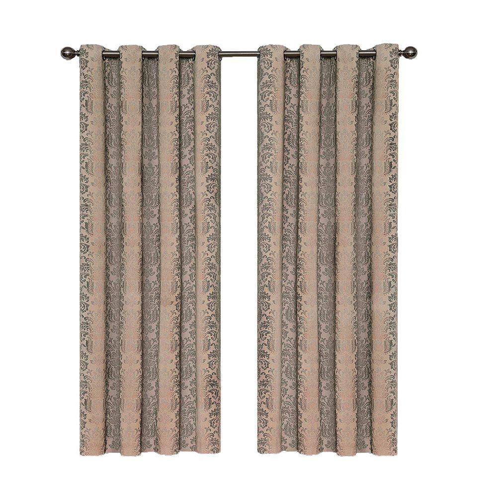 Eclipse Nadya Print Blackout Window Curtain Panel In Linen – 52 In. W X 84 In (View 8 of 30)