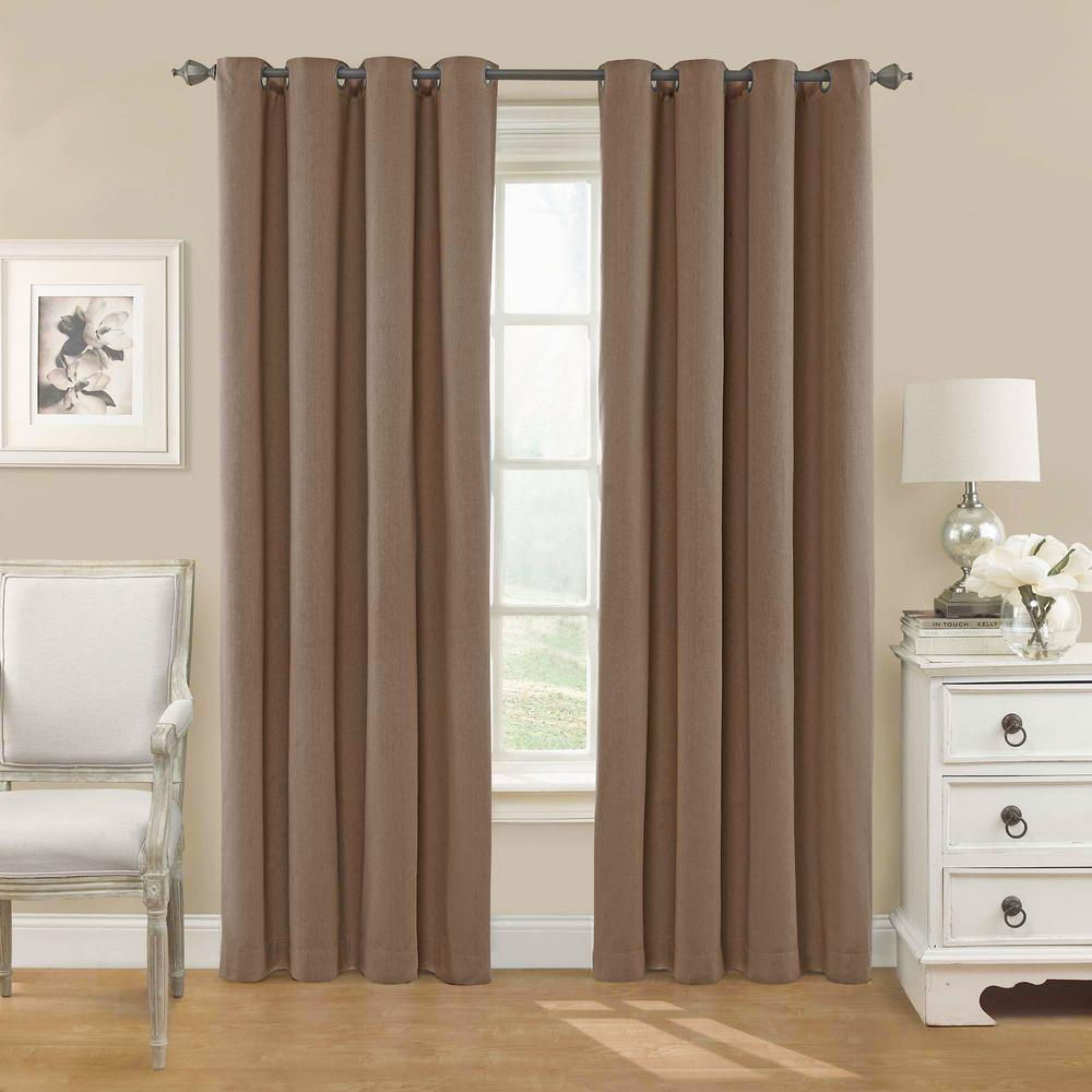 Eclipse Nadya Solid Blackout Window Curtain Panel In Teak – 52 In. W X 95 In (View 15 of 20)