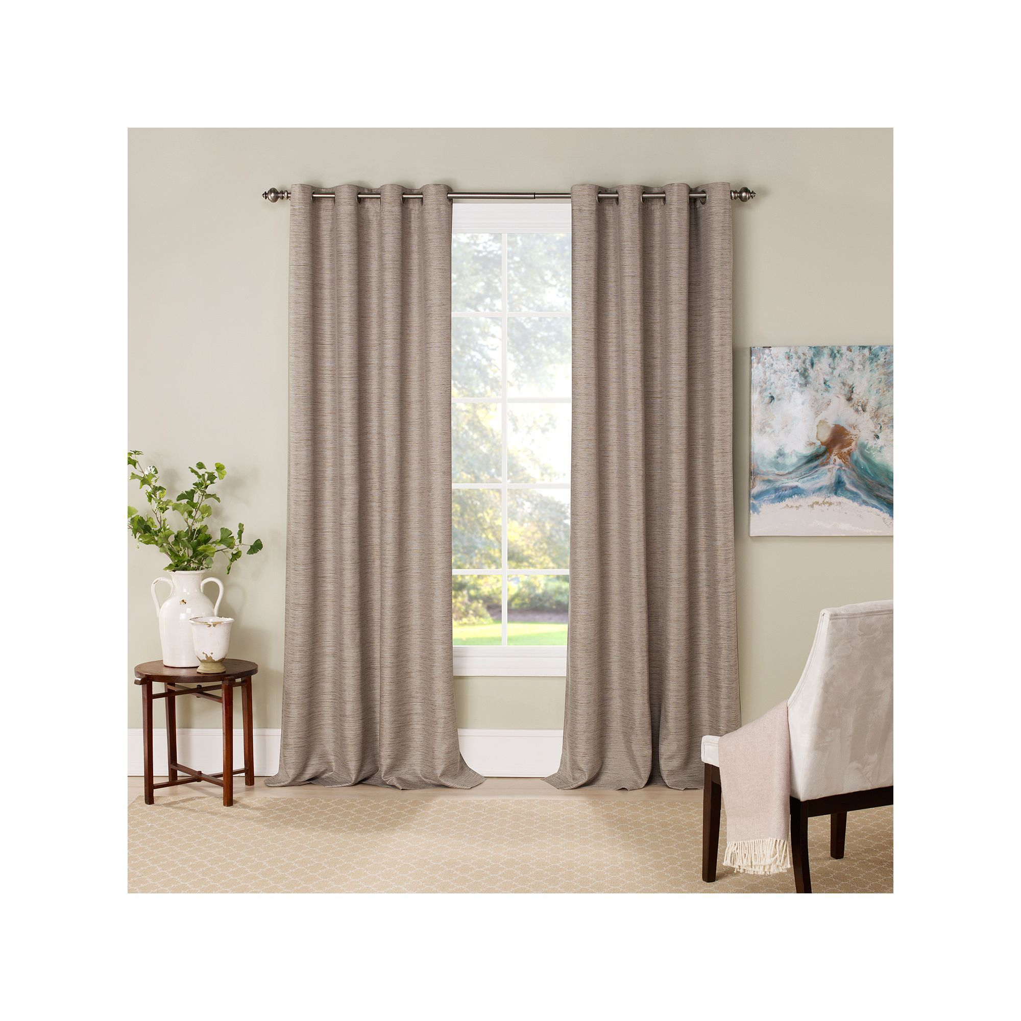 Eclipse Newport Blackout Window Curtain, Dark Beige, 52x63 Regarding Eclipse Newport Blackout Curtain Panels (View 5 of 20)