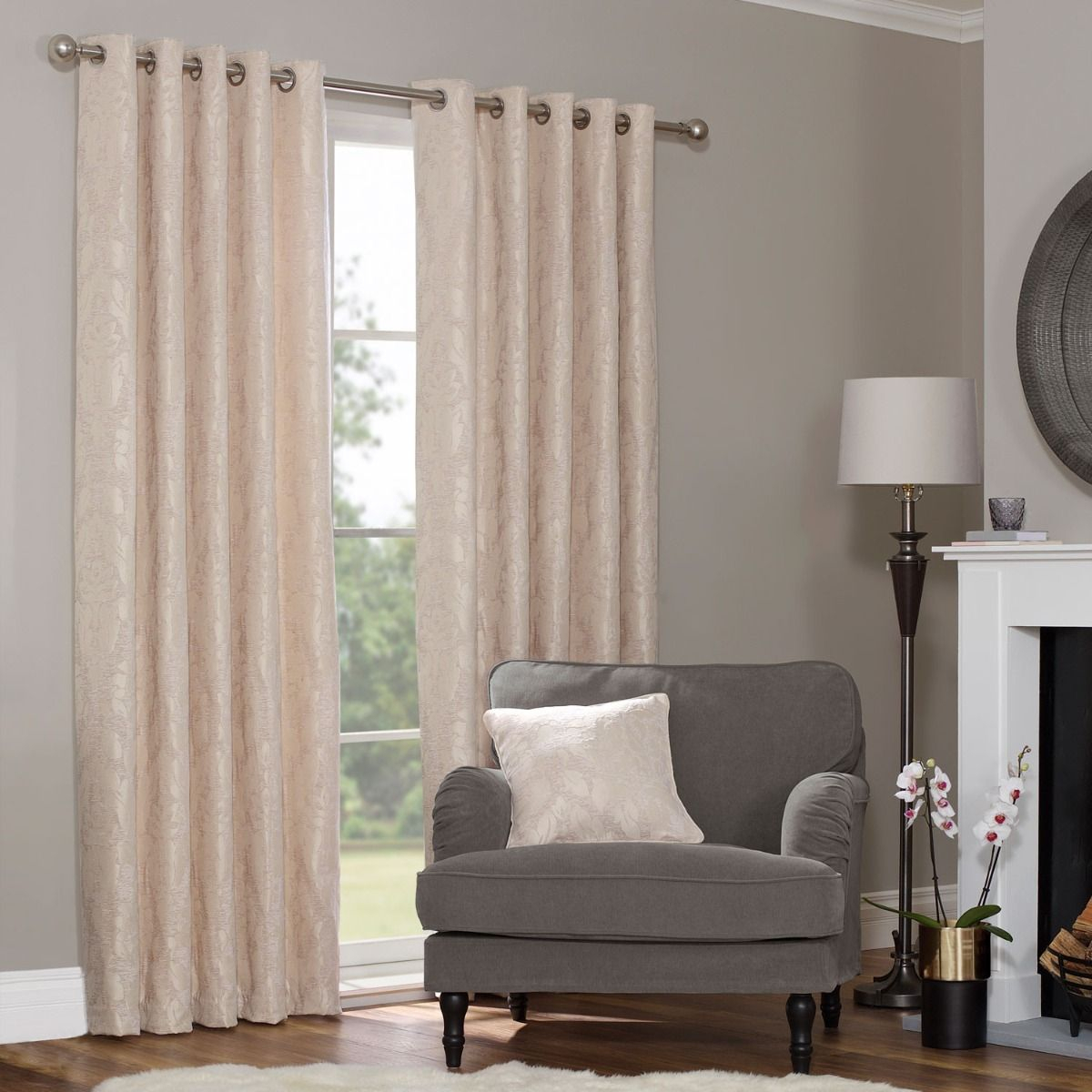 Eden Gold Floral Jacquard Luxury Eyelet Curtains (pair) Within Baroque Linen Grommet Top Curtain Panel Pairs (View 19 of 20)