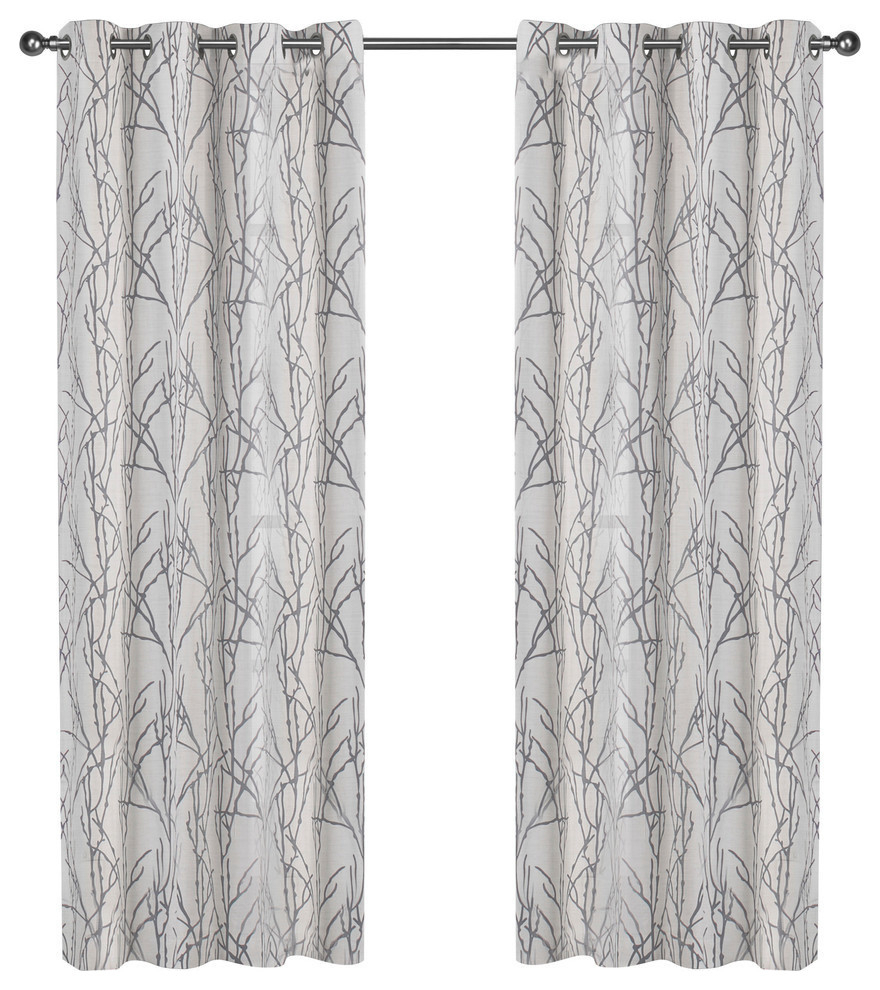 "Edinburgh Branch Sheer Burnout Grommet Top Curtains, 52""x84"", White, Set Of 2 With Regard To Wilshire Burnout Grommet Top Curtain Panel Pairs (View 15 of 30)"