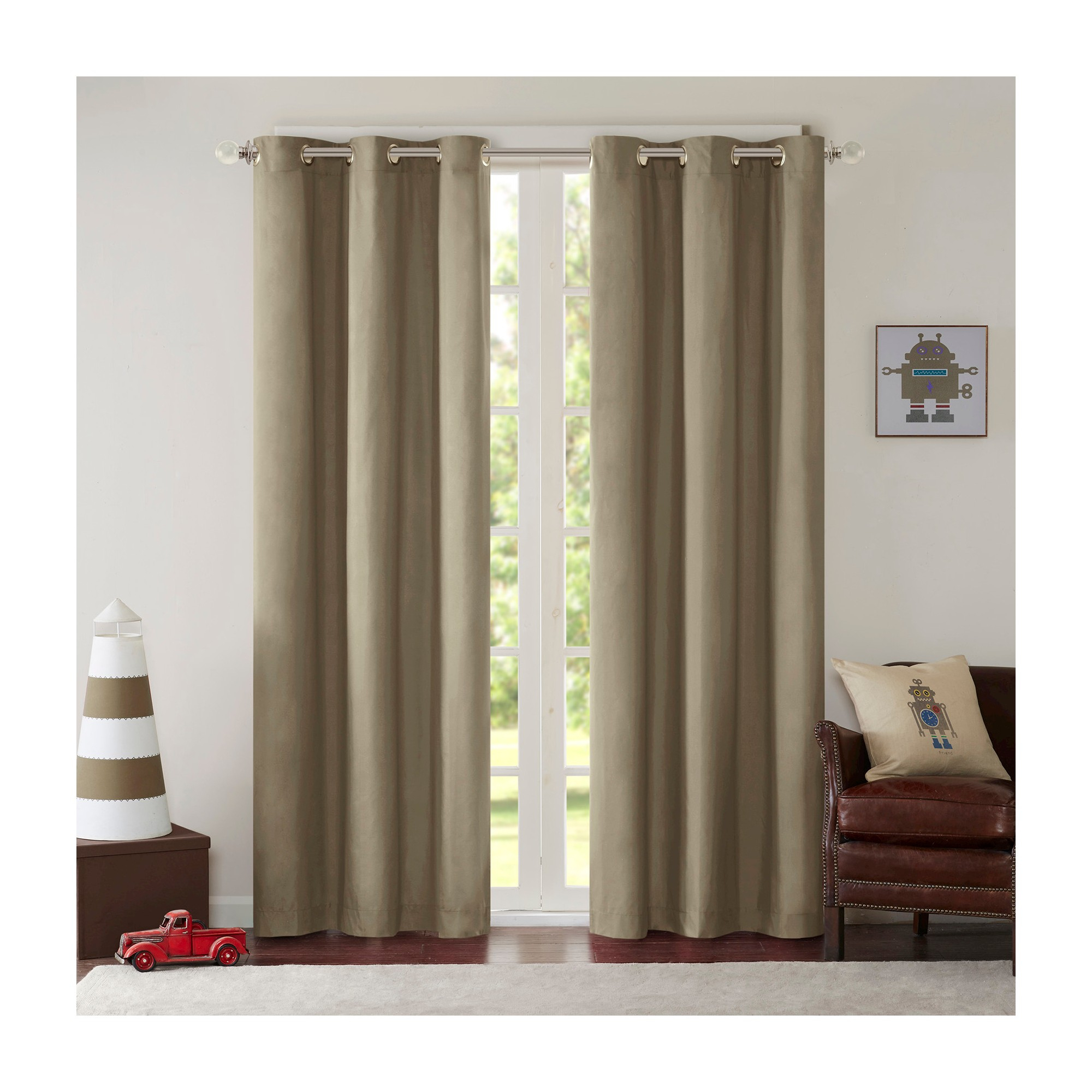 Edson Solid Grommet Top Curtain Panel Pair Khaki (42x63 In Solid Grommet Top Curtain Panel Pairs (View 11 of 30)