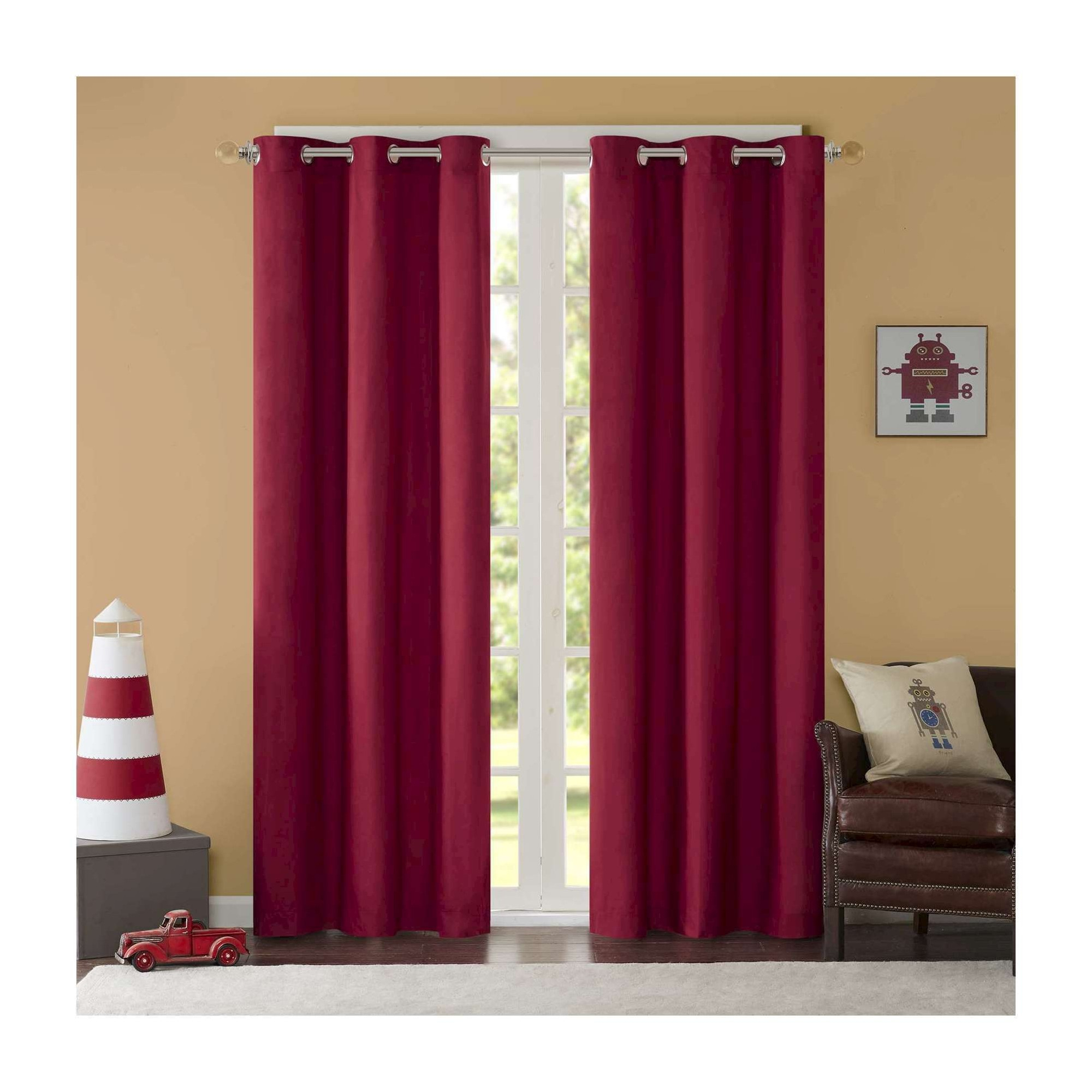 Edson Solid Grommet Top Curtain Panel Pair Red (42X63 Regarding Solid Grommet Top Curtain Panel Pairs (View 10 of 30)