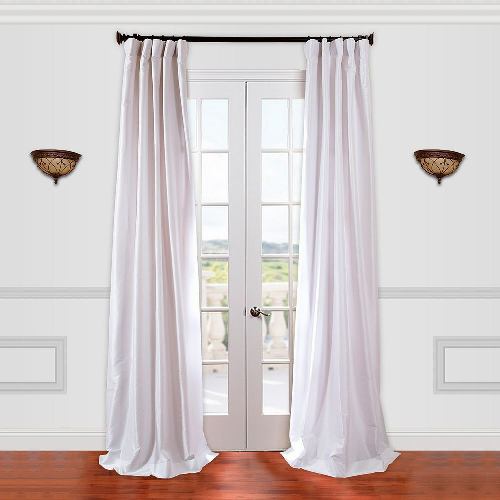 Eff 1 Panel Solid Faux Silk Taffeta Window Curtain, White Throughout Off White Vintage Faux Textured Silk Curtains (View 16 of 20)