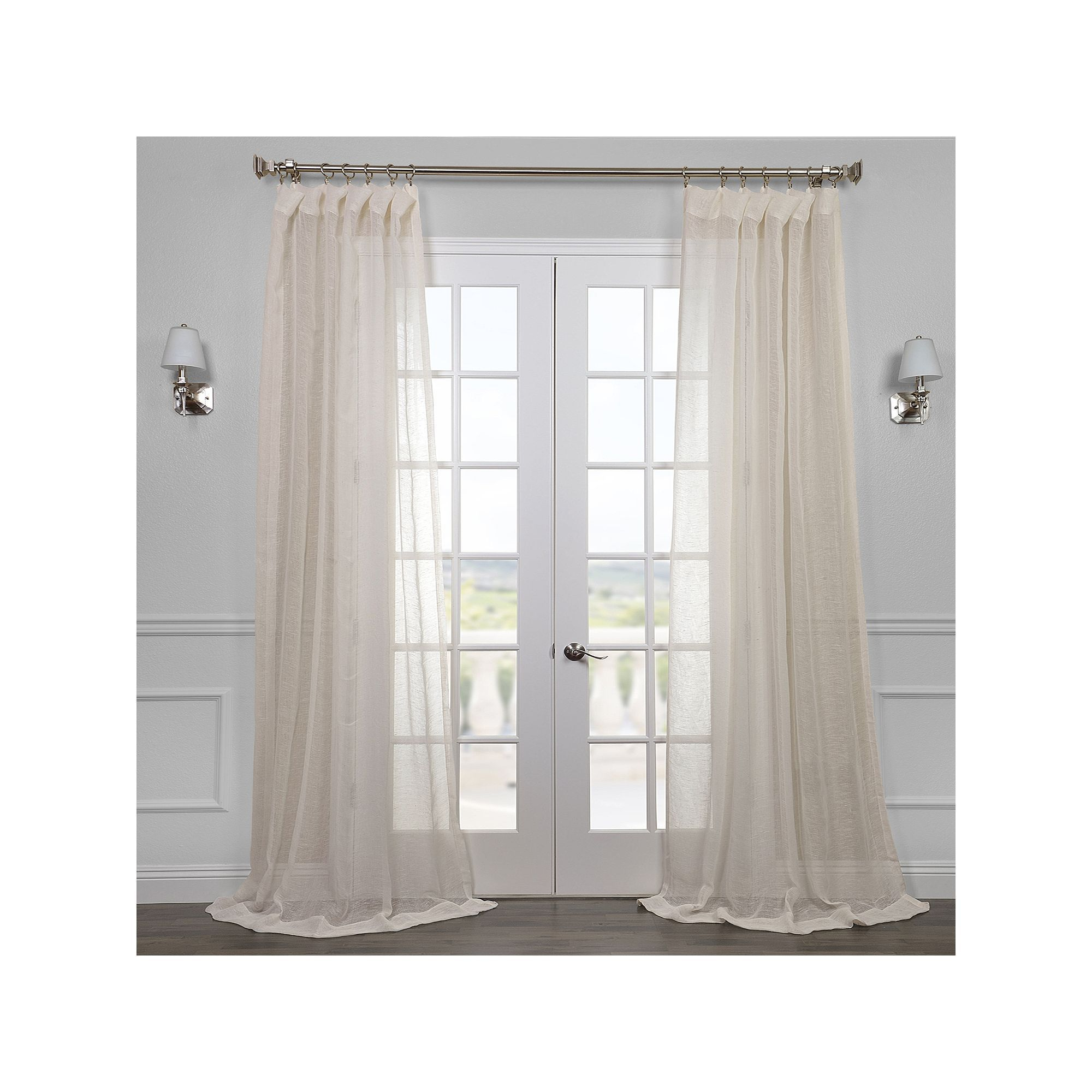 Eff 1 Panel Solid Open Weave Sheer Window Curtain, White For Signature White Double Layer Sheer Curtain Panels (View 23 of 30)