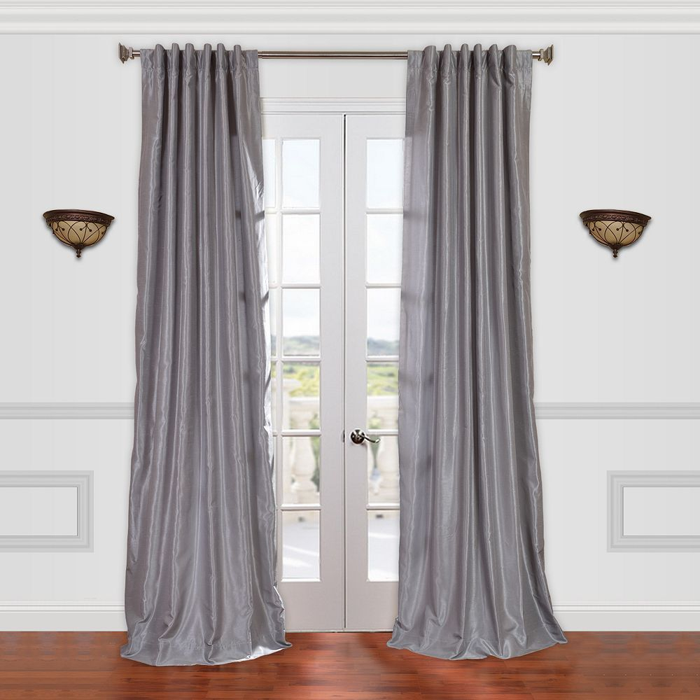 Eff 1 Panel Vintage Textured Faux Dupioni Silk Window With Silver Vintage Faux Textured Silk Curtain Panels (View 6 of 30)