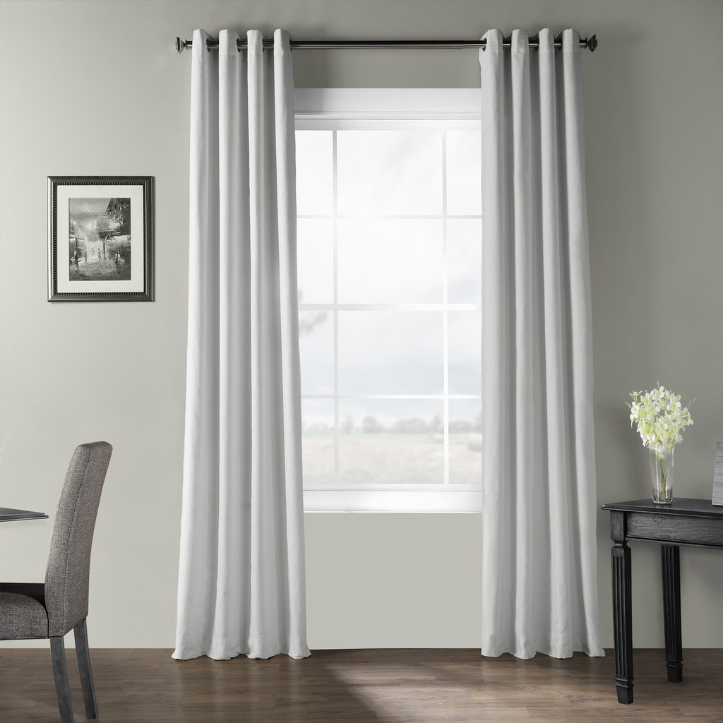 Eff Bark Weave Solid Grommet Window Curtain, White, 50x96 Inside Solid Country Cotton Linen Weave Curtain Panels (View 16 of 30)