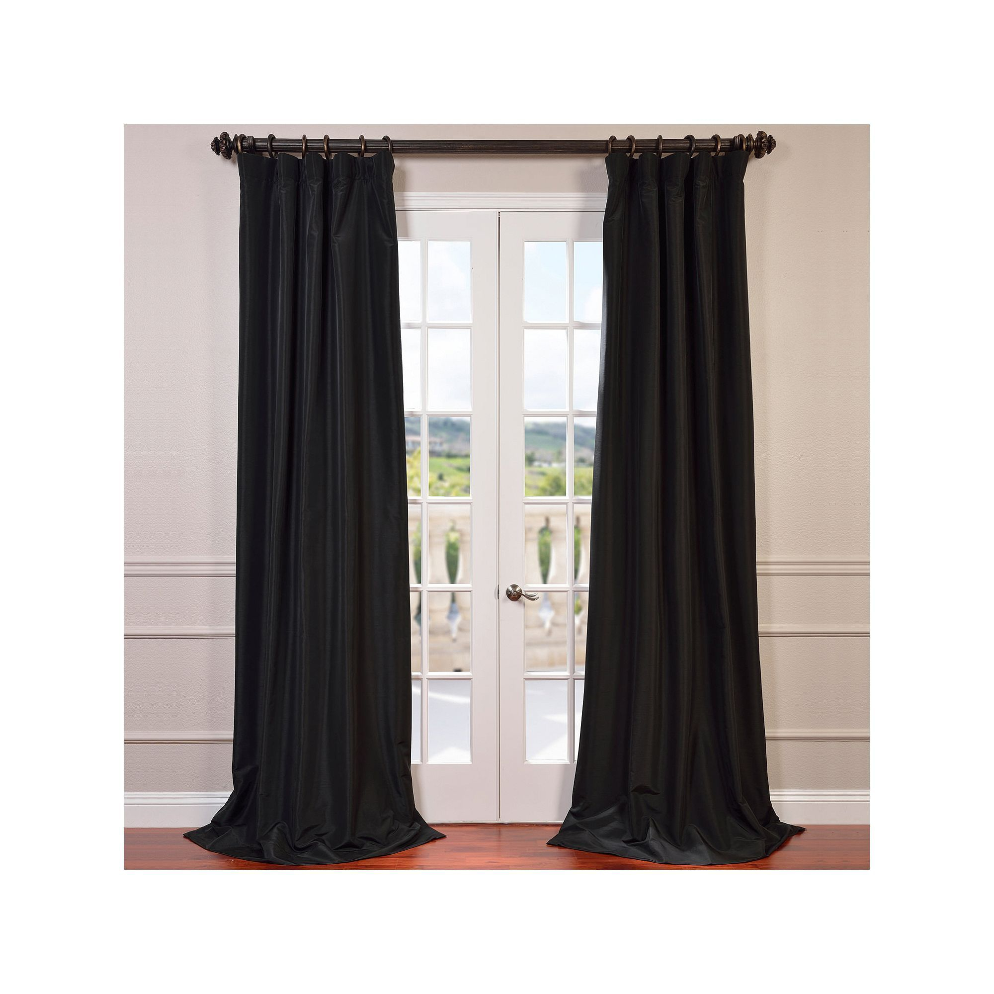 Eff Blackout 1 Panel Faux Silk Taffeta Window Curtain With Regard To Warm Black Velvet Single Blackout Curtain Panels (View 10 of 30)