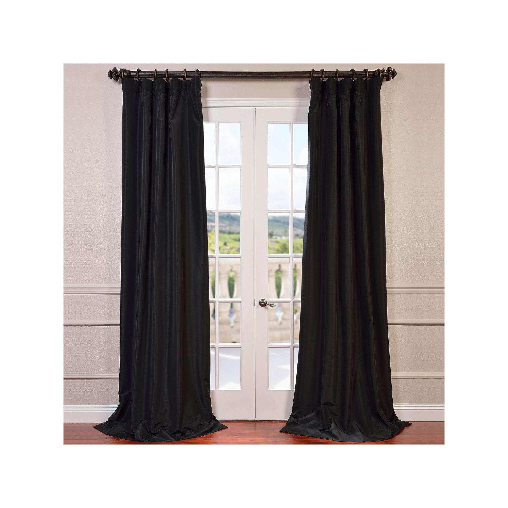 Eff Blackout 1 Panel Faux Silk Taffeta Window Curtain Within Faux Silk Taffeta Solid Blackout Single Curtain Panels (View 15 of 20)