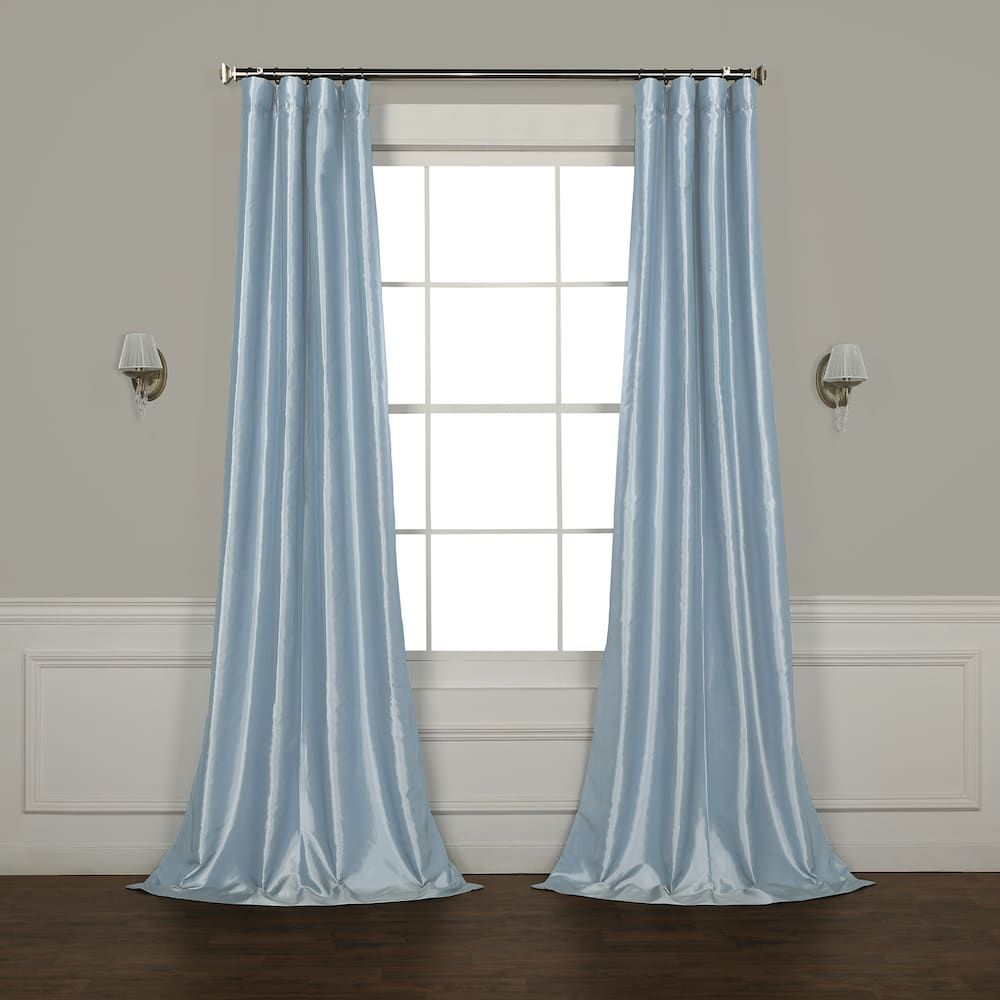 Eff Faux Silk Taffeta Window Curtain, White, 50x96 Pertaining To Julia Striped Room Darkening Window Curtain Panel Pairs (View 17 of 20)