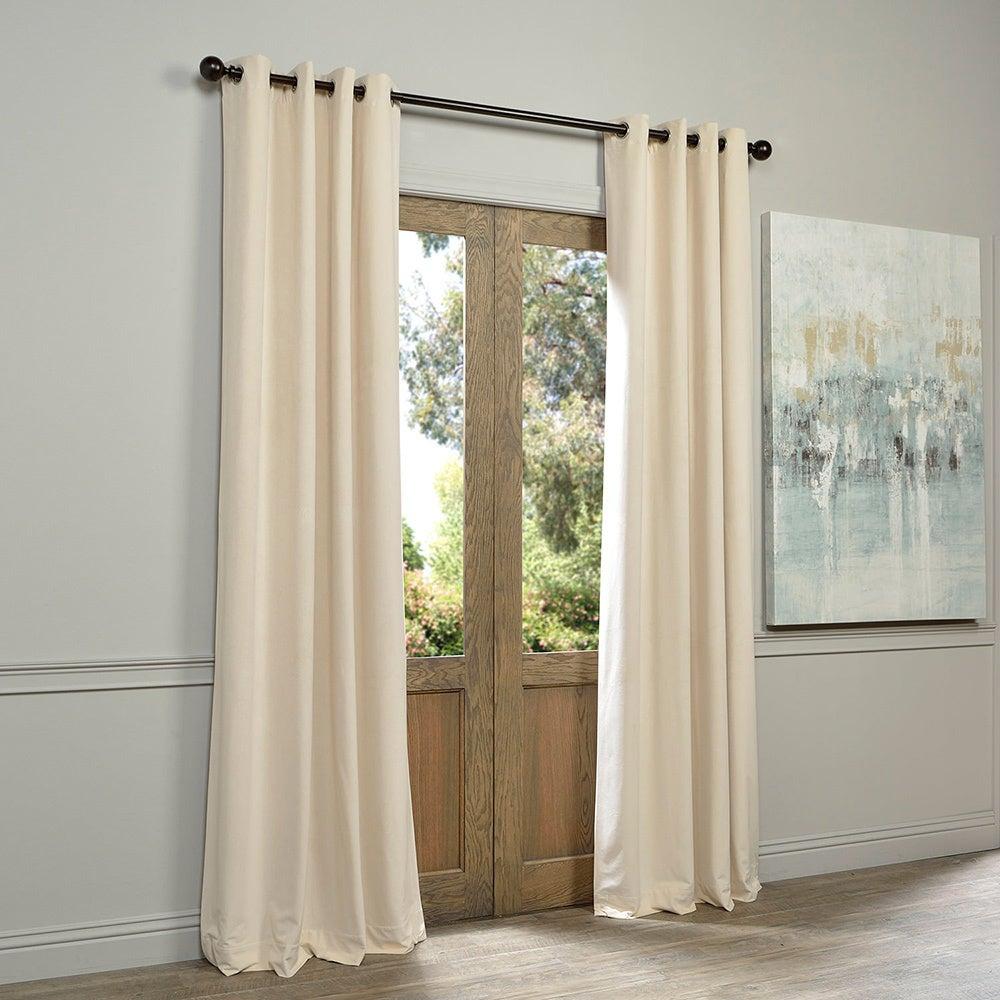 Eff Ivory Grommet Velvet Blackout Curtain Panel Within Signature Ivory Velvet Blackout Single Curtain Panels (View 5 of 34)