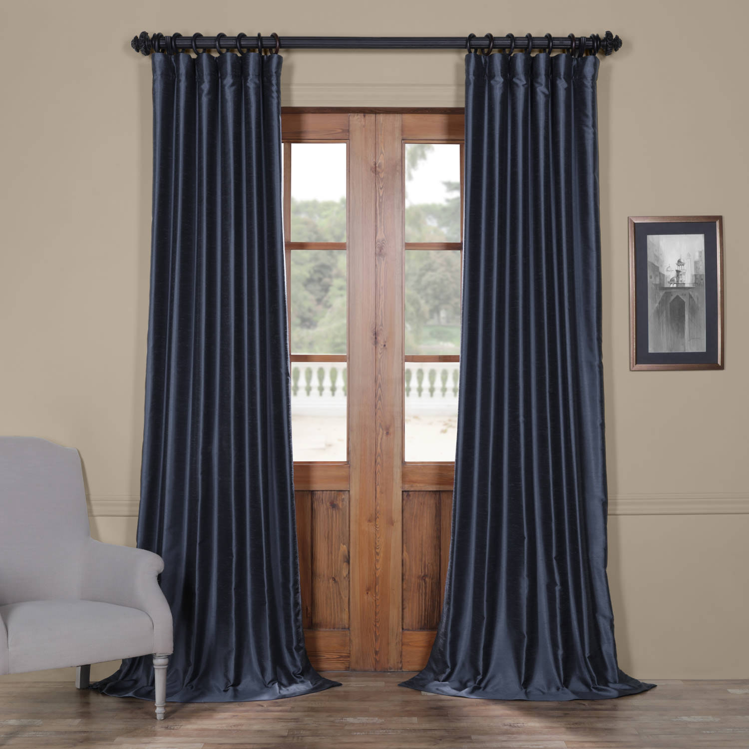 Egyptian Blue Yarn Dyed Faux Dupioni Silk Curtain With Storm Grey Vintage Faux Textured Dupioni Single Silk Curtain Panels (View 4 of 30)