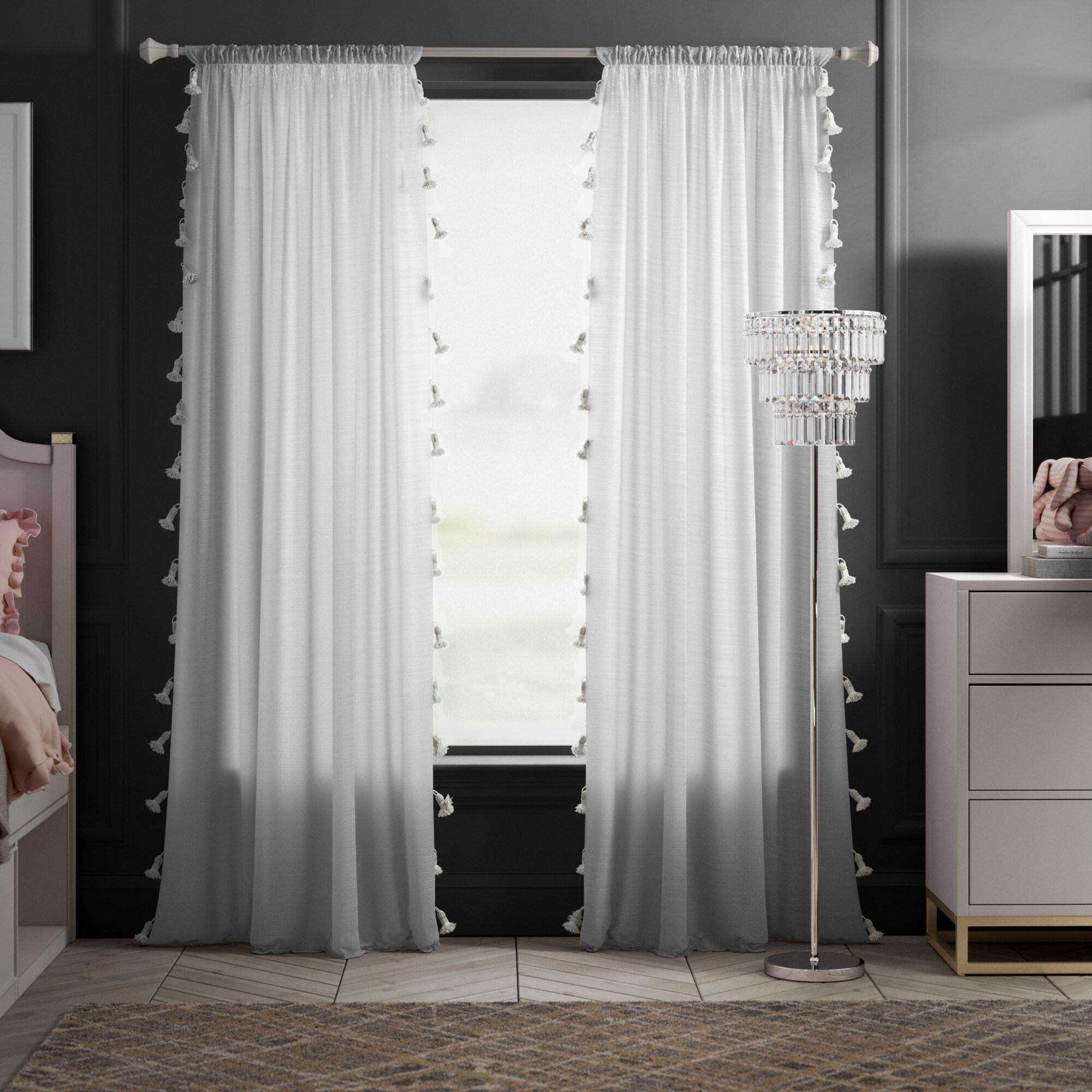 Eider & Ivory Alexis Solid Semi Sheer Rod Pocket Single In Tassels Applique Sheer Rod Pocket Top Curtain Panel Pairs (View 12 of 30)