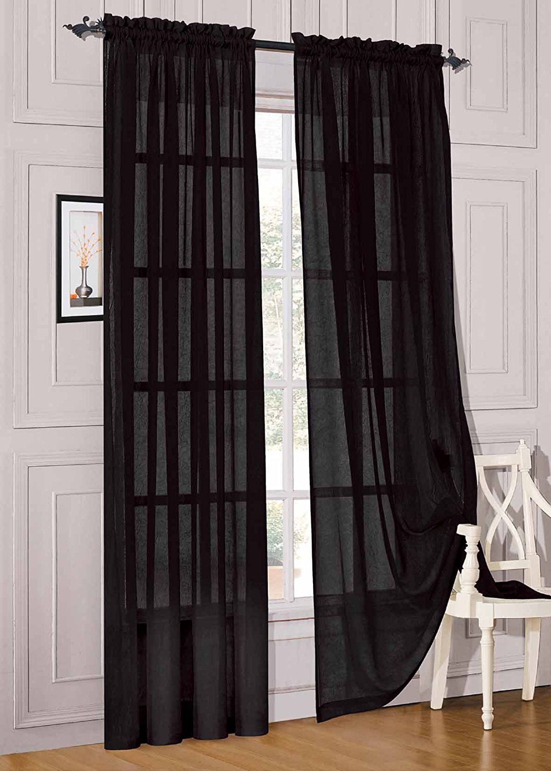 Elegant Comfort® 2 Piece Solid Sheer Panel With Rod Pocket – Window Curtain 60 Inch Width X 84 Inch Length – Black For Elegant Comfort Window Sheer Curtain Panel Pairs (View 13 of 20)