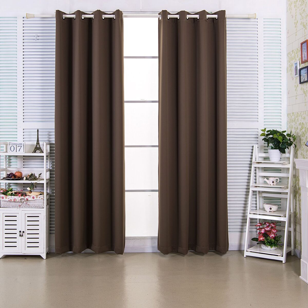 Elegant Home Fashions Edessa Premium Solid Window Panels In Hazelnut Brown In 72 Inch – Intended For Solid Thermal Insulated Blackout Curtain Panel Pairs (View 23 of 30)