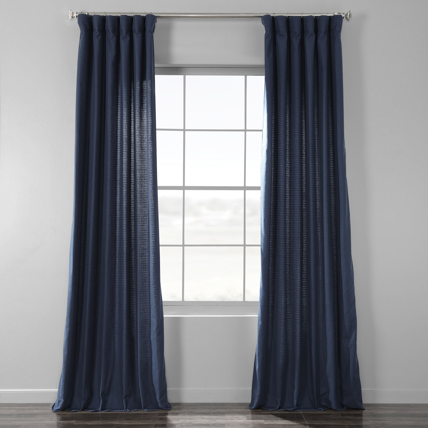 Elegant Navy Bark Weave Solid Cotton Curtain Regarding Solid Country Cotton Linen Weave Curtain Panels (View 7 of 30)