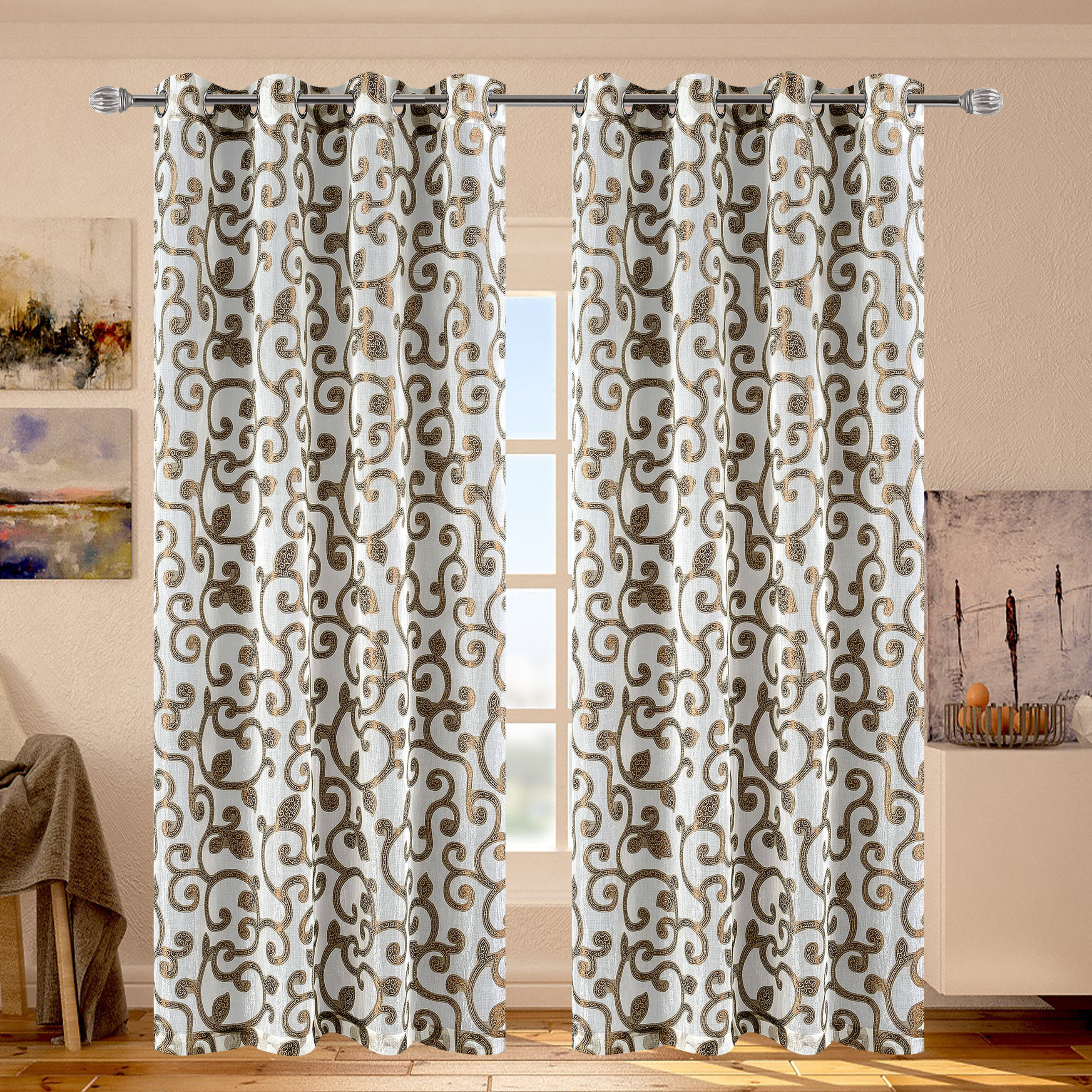 Ella Geometric Sheer Grommet Single Curtain Panel Throughout Ella Window Curtain Panels (View 9 of 20)