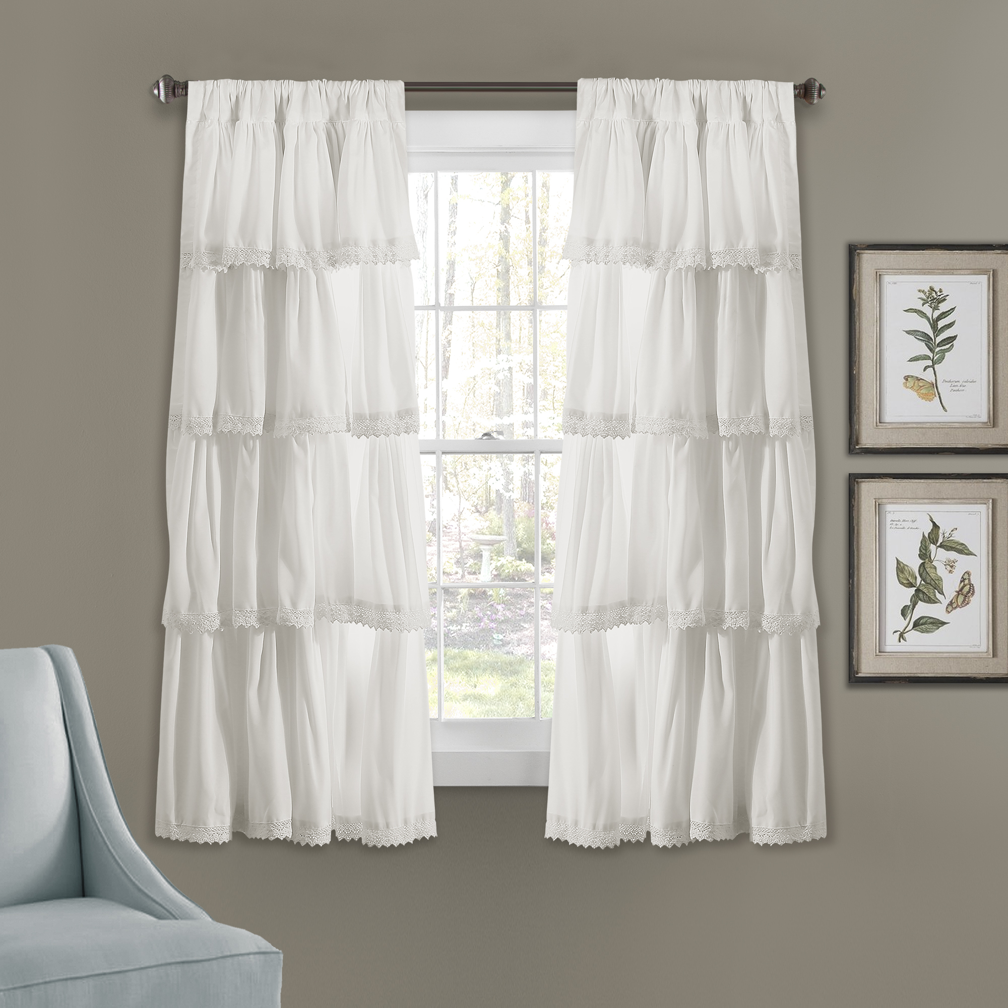 Ella Lace Ruffle Window Curtain Panels White Set 32x45 In Ella Window Curtain Panels (View 4 of 20)