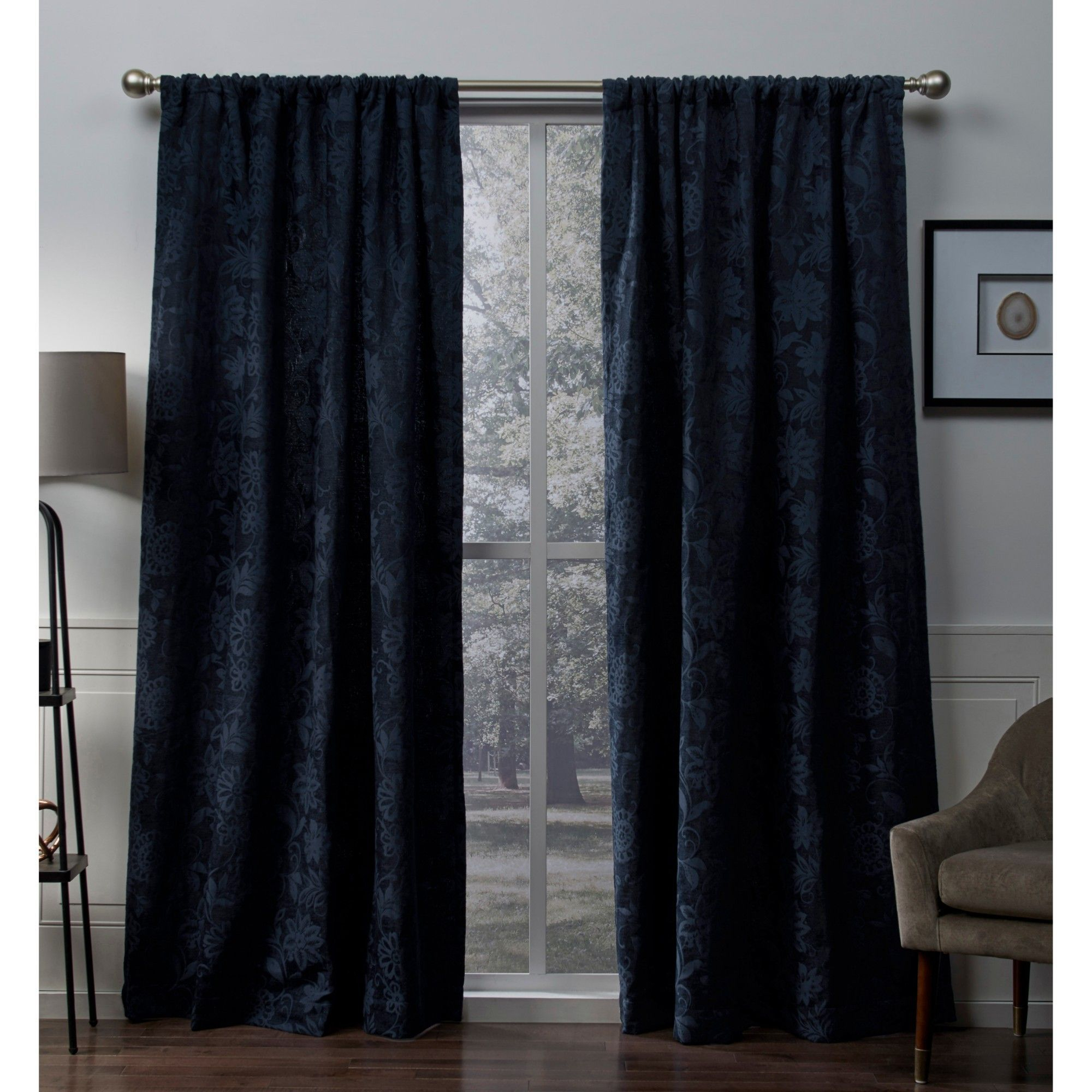 Elle Heavyweight Floral Scroll Chenille Jacquard Room in Floral Pattern Room Darkening Window Curtain Panel Pairs (Image 8 of 20)