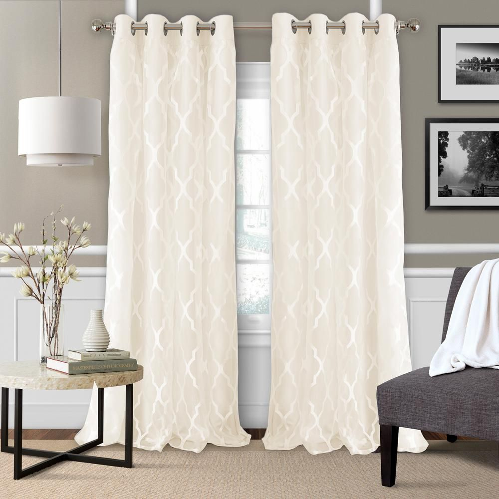 Elrene Bethany Sheer Overlay Blackout Window Curtain For Laya Fretwork Burnout Sheer Curtain Panels (View 16 of 20)