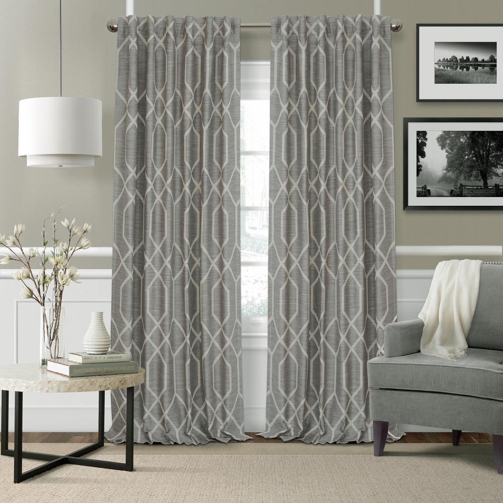 Featured Photo of Geometric Linen Room Darkening Window Curtains