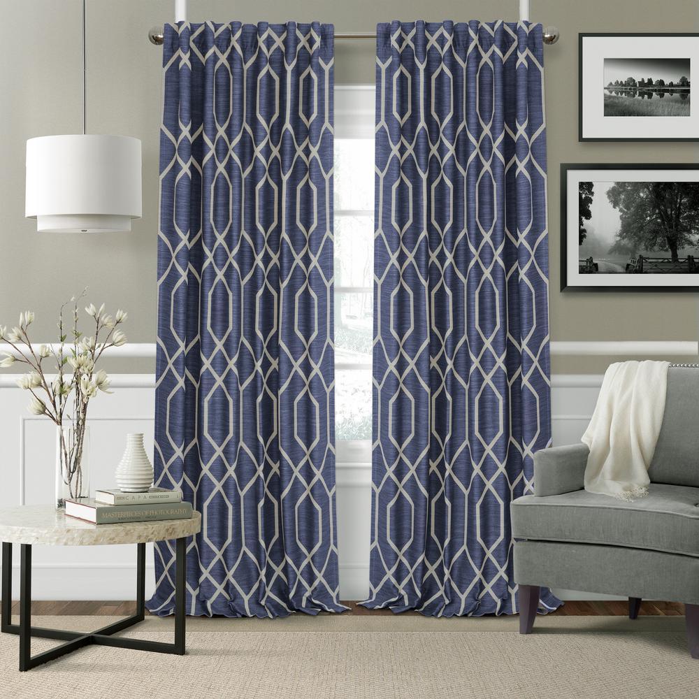 Elrene Devin Geometric Room Darkening Window Curtain Within Elrene Mia Jacquard Blackout Curtain Panels (View 13 of 20)