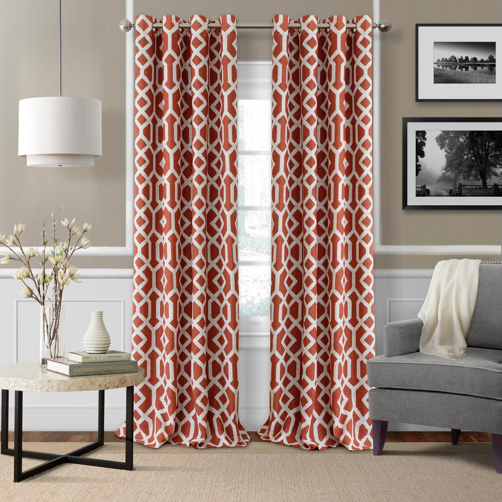 Elrene Grayson Trellis Room Darkening Window Curtain Throughout Kaiden Geometric Room Darkening Window Curtains (View 3 of 20)