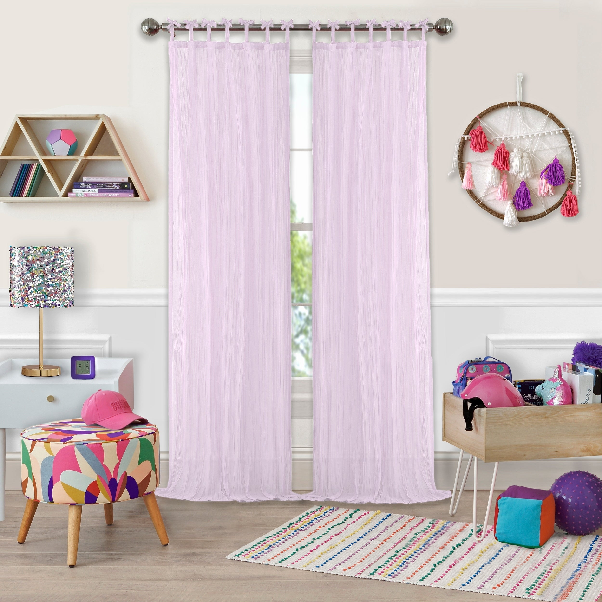 Elrene Greta Kid's Tab Top Sheer Window Curtain Panel For Elrene Aurora Kids Room Darkening Layered Sheer Curtains (View 10 of 20)