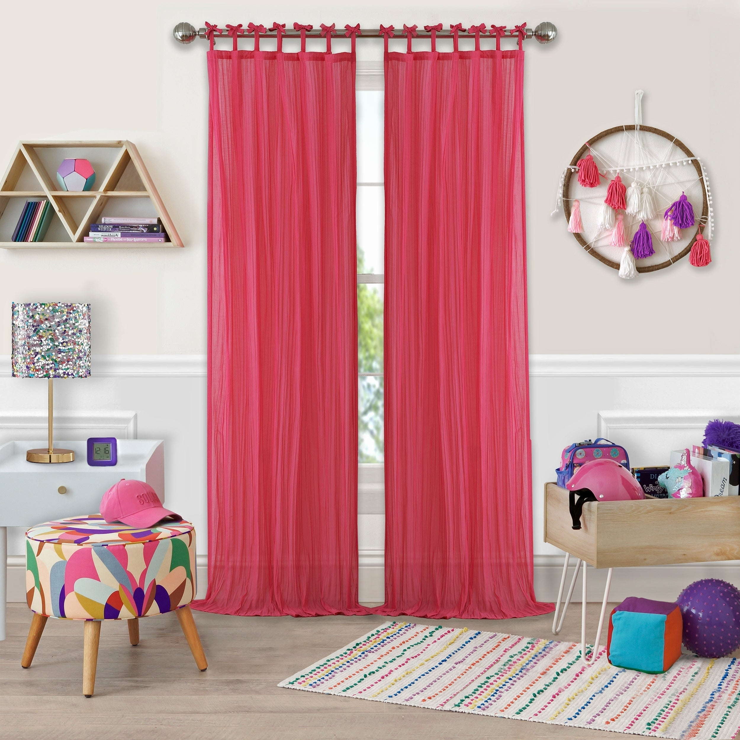 Elrene Greta Kid's Tab Top Sheer Window Curtain Panel Pertaining To Elrene Aurora Kids Room Darkening Layered Sheer Curtains (View 15 of 20)