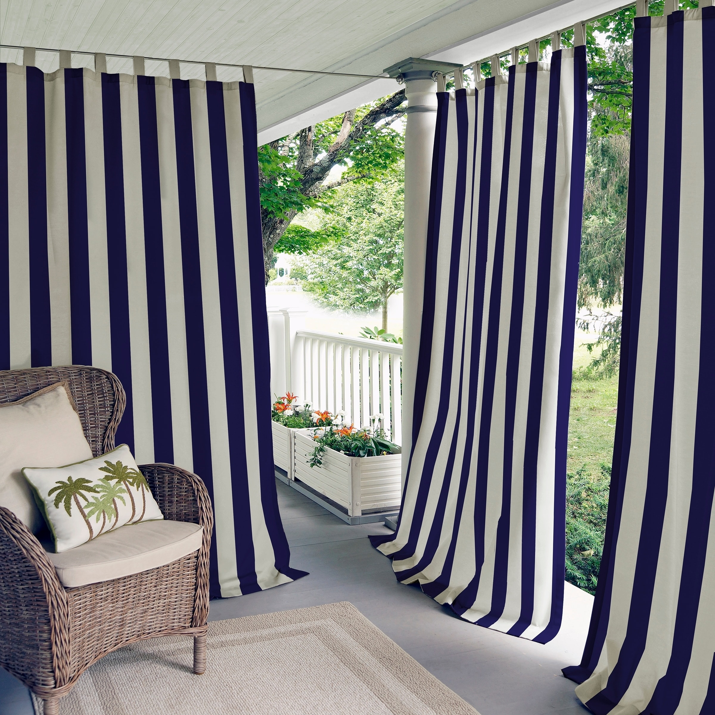 """Elrene Highland Stripe Indoor/outdoor Curtain Panel (52"""" W X Intended For Valencia Cabana Stripe Indoor/outdoor Curtain Panels (View 15 of 30)"""