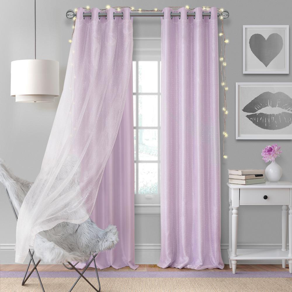 Elrene Home Fashions Aurora Kids Room Darkening Layered Sheer Window Curtain Within Kaiden Geometric Room Darkening Window Curtains (View 19 of 20)