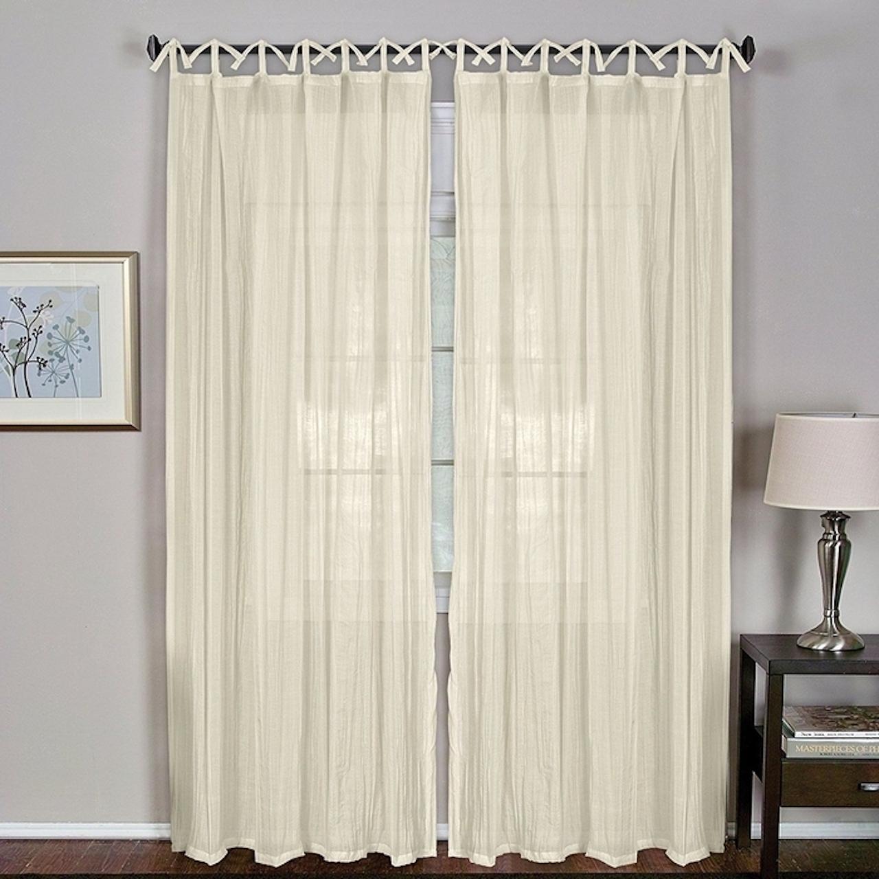 """Elrene Home Fashions Jolie 108"""" L, 1 Tie Top Loop Curtain Panel – Ivory For Elrene Jolie Tie Top Curtain Panels (View 9 of 20)"""