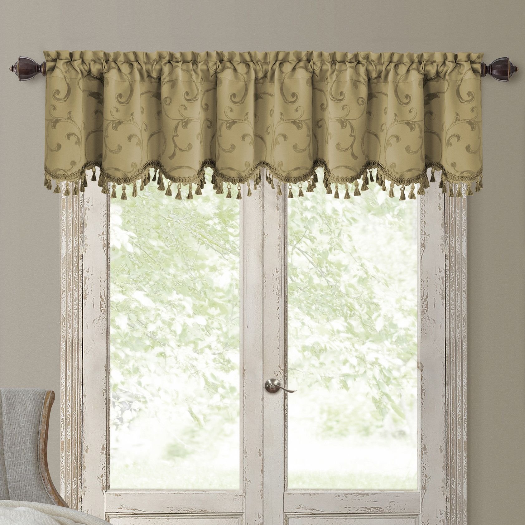 Elrene Home Fashions Mia Curtain Valance   Products In Elrene Mia Jacquard Blackout Curtain Panels (View 14 of 20)