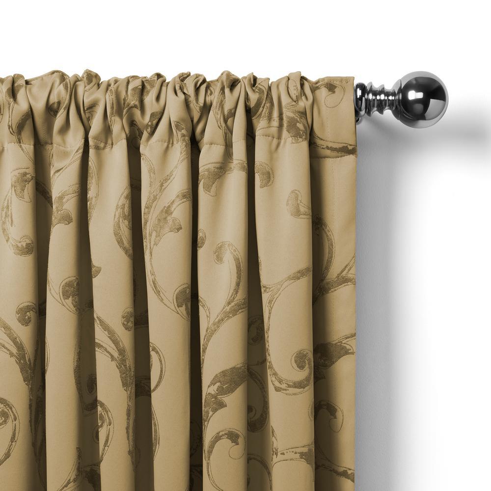Elrene Mia Jacquard Scroll Blackout Window Curtain With Regard To Elrene Mia Jacquard Blackout Curtain Panels (View 2 of 20)