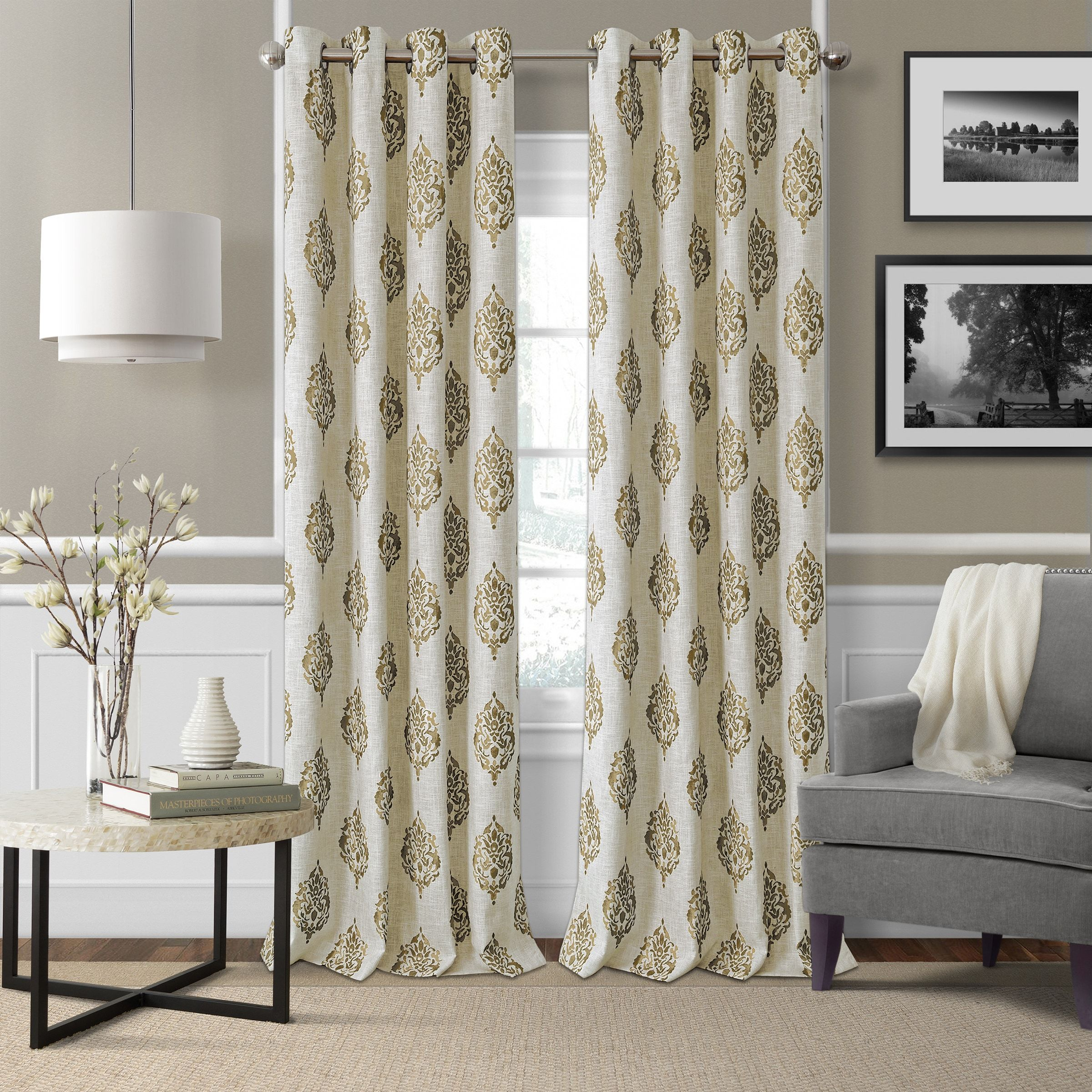 Elrene Navara Blackout Curtain Panel | Products | Panel In Primebeau Geometric Pattern Blackout Curtain Pairs (View 8 of 20)