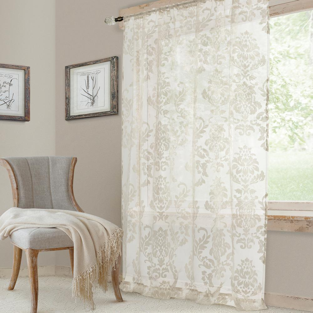 Elrene Valentina Sheer White Single Window Curtain Panel – 52 In. W X 108 In (View 14 of 20)