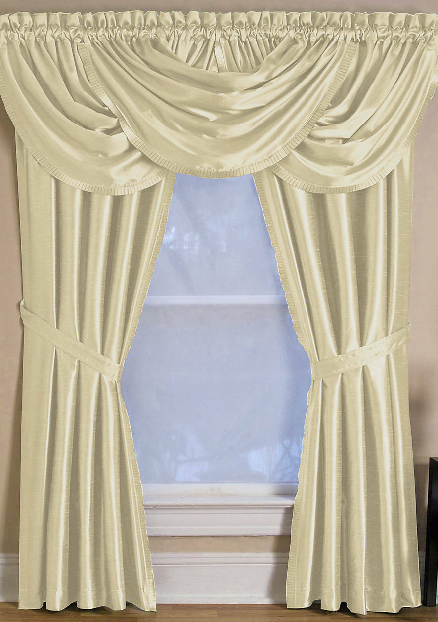 """Elrene Versailles 52"""" X 108"""" One Rod Pocket Window Panel Ivory For Elrene Versailles Pleated Blackout Curtain Panels (View 19 of 20)"""