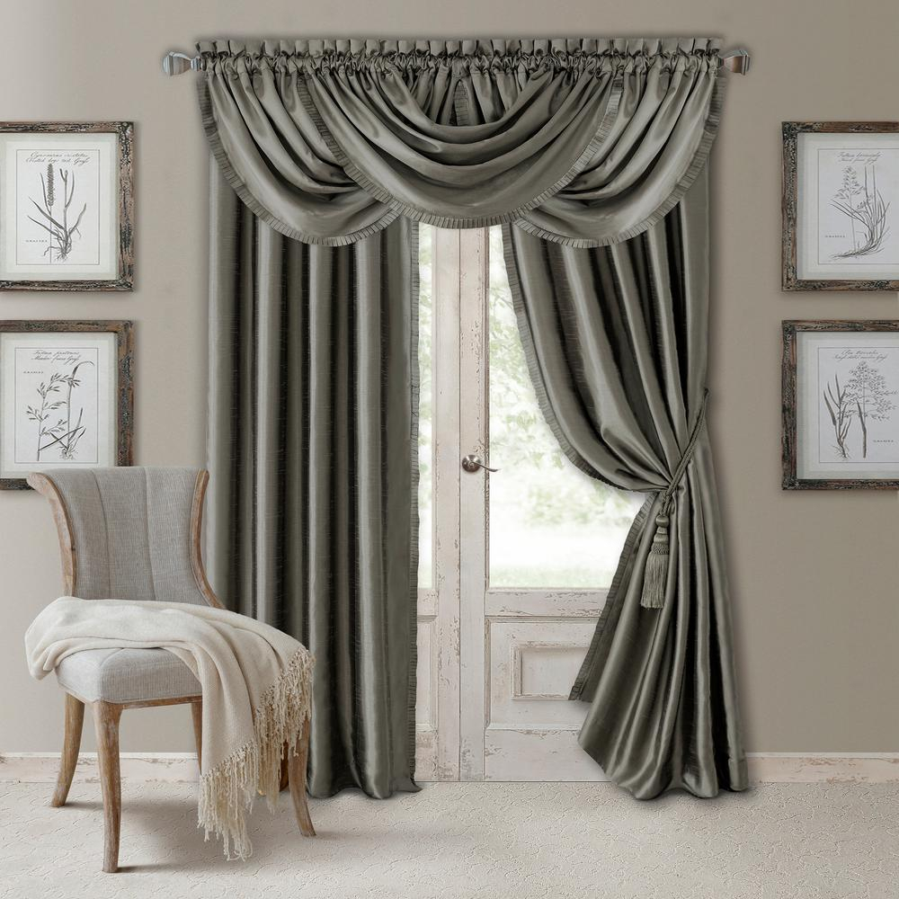 Elrene Versailles Faux Silk Blackout Window Curtain Within Bethany Sheer Overlay Blackout Window Curtains (View 11 of 20)