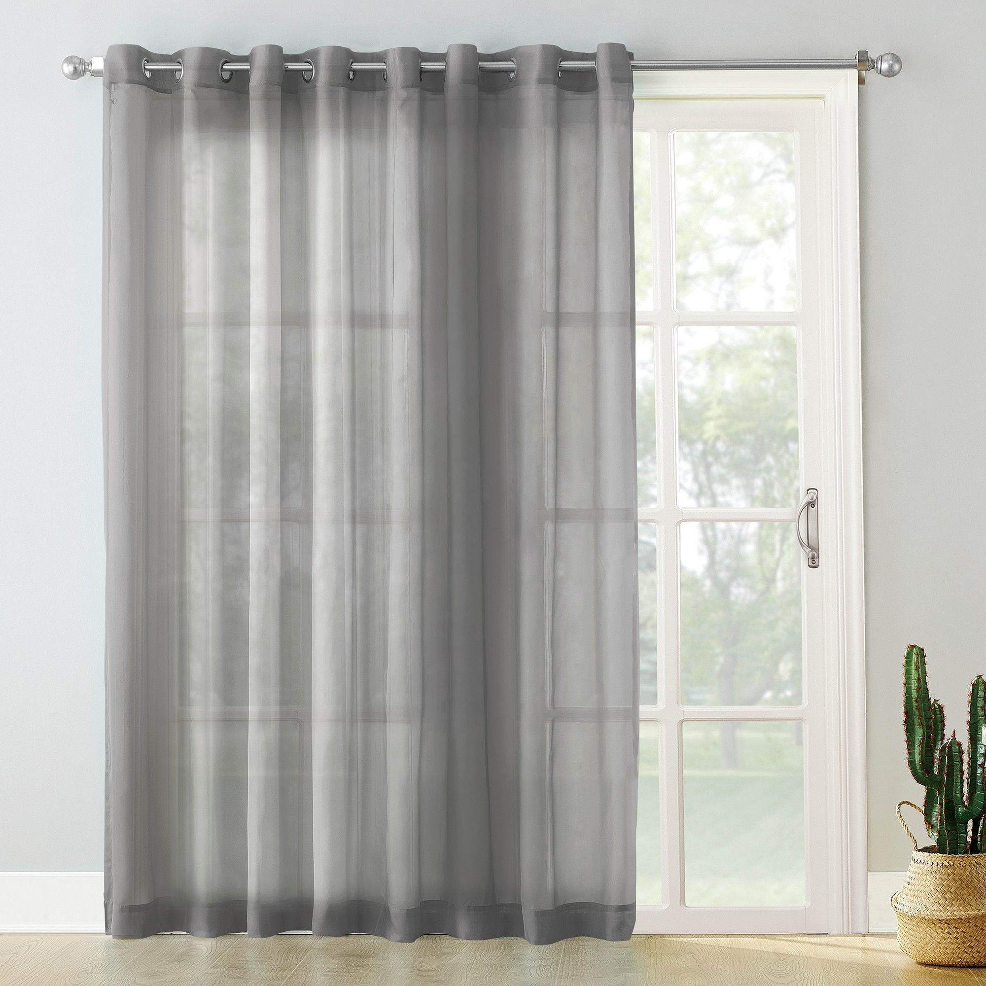 Emily Extra Wide Sheer Voile Sliding Door Patio Curtain Pertaining To Emily Sheer Voile Grommet Curtain Panels (View 4 of 20)