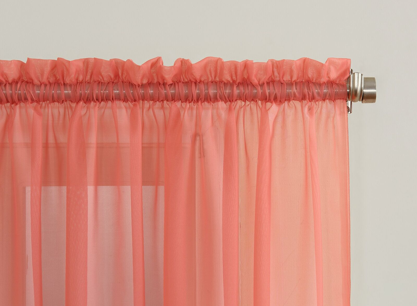 """Emily Sheer Voile Rod Pocket Curtain Panel, 59"""" X 84"""", Coral Orange Inside Emily Sheer Voile Single Curtain Panels (View 8 of 20)"""
