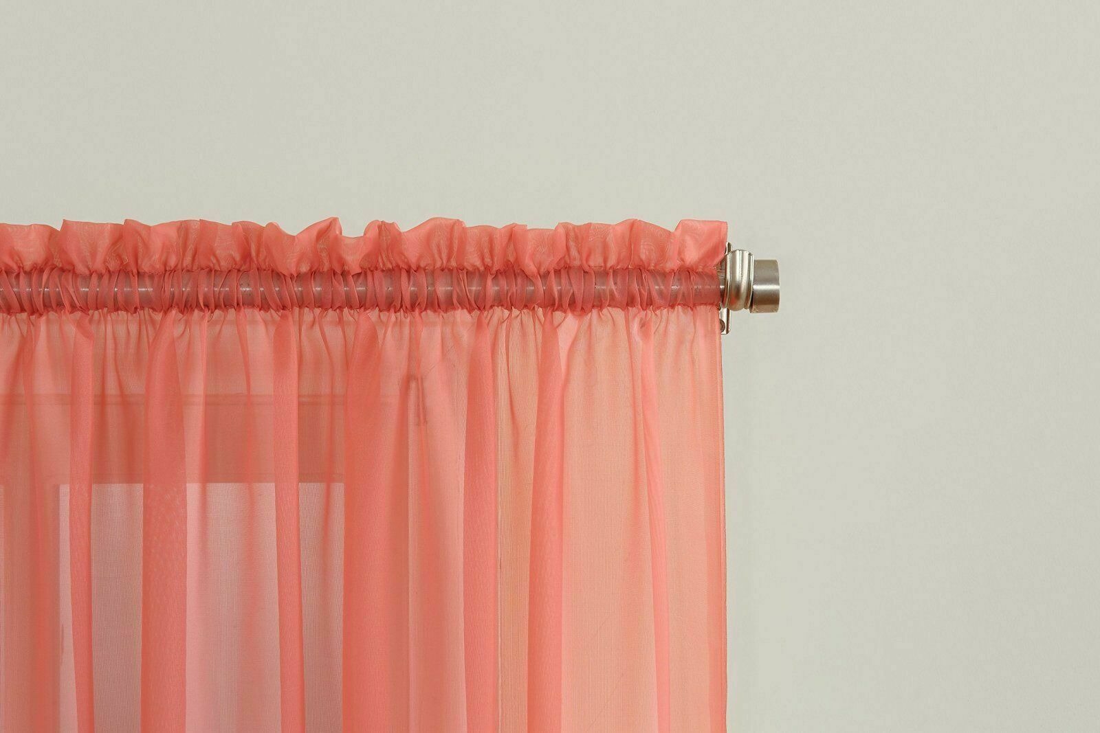 """Emily Sheer Voile Rod Pocket Curtain Panel, 59"""" X 84"""", Coral Orange Throughout Emily Sheer Voile Single Curtain Panels (View 14 of 20)"""