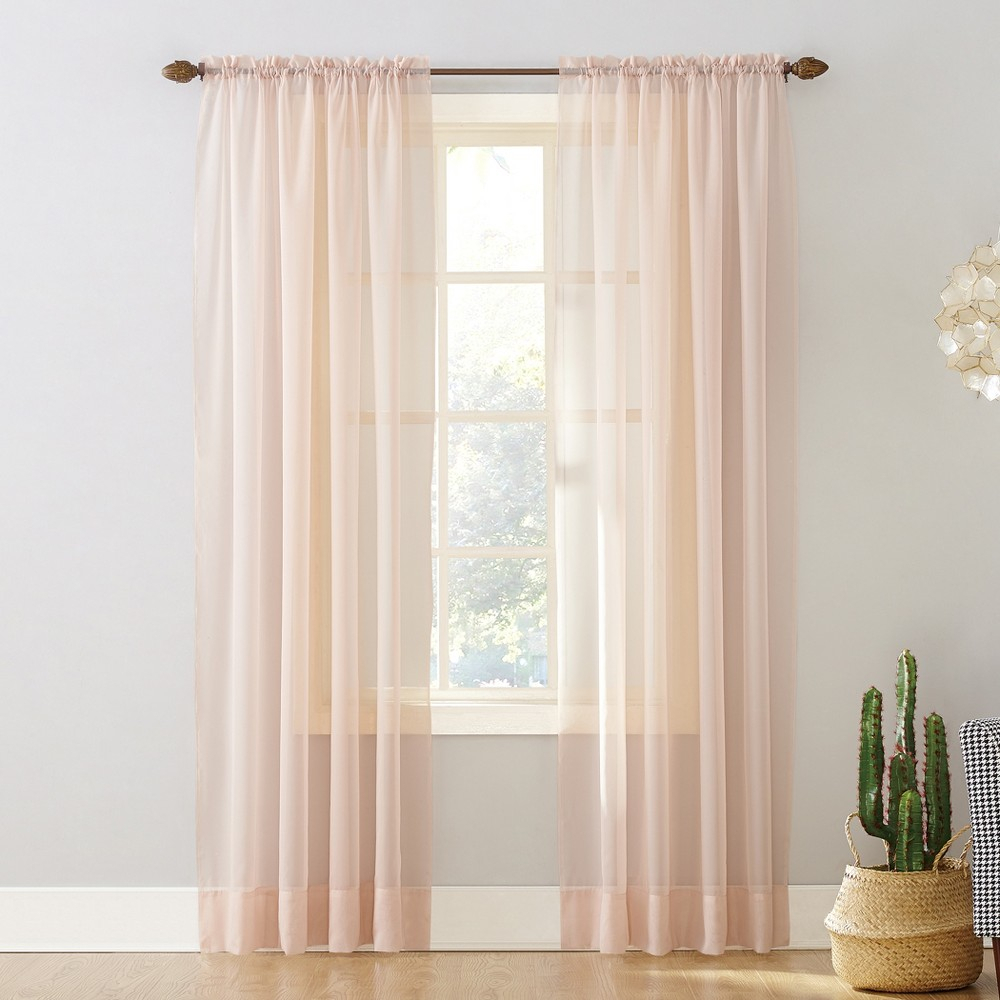 """Emily Sheer Voile Rod Pocket Curtain Panel Blush 59""""x84 With Regard To Emily Sheer Voile Single Curtain Panels (View 13 of 20)"""