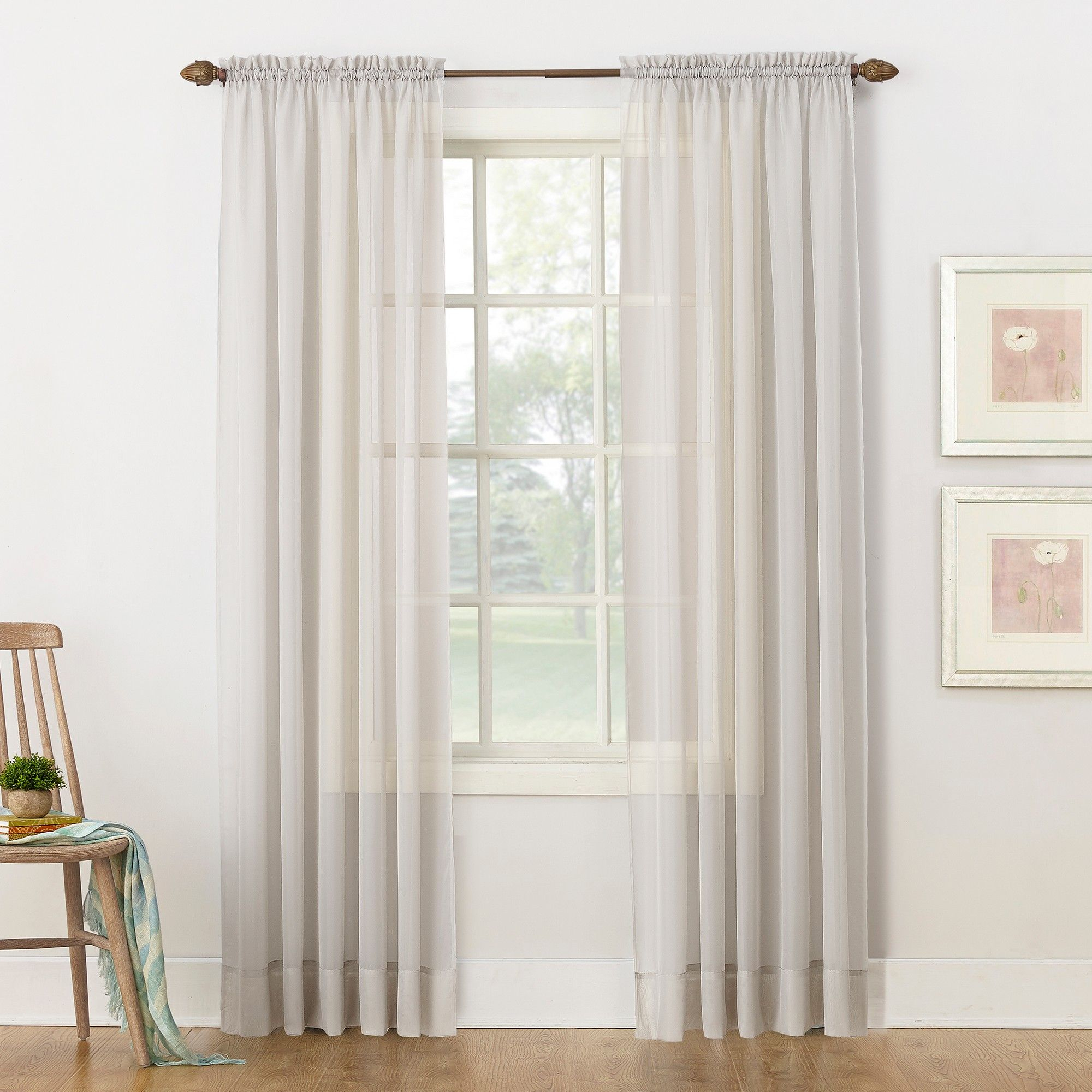 """Emily Sheer Voile Rod Pocket Curtain Panel Silver 59""""x84 For Emily Sheer Voile Grommet Curtain Panels (View 12 of 20)"""