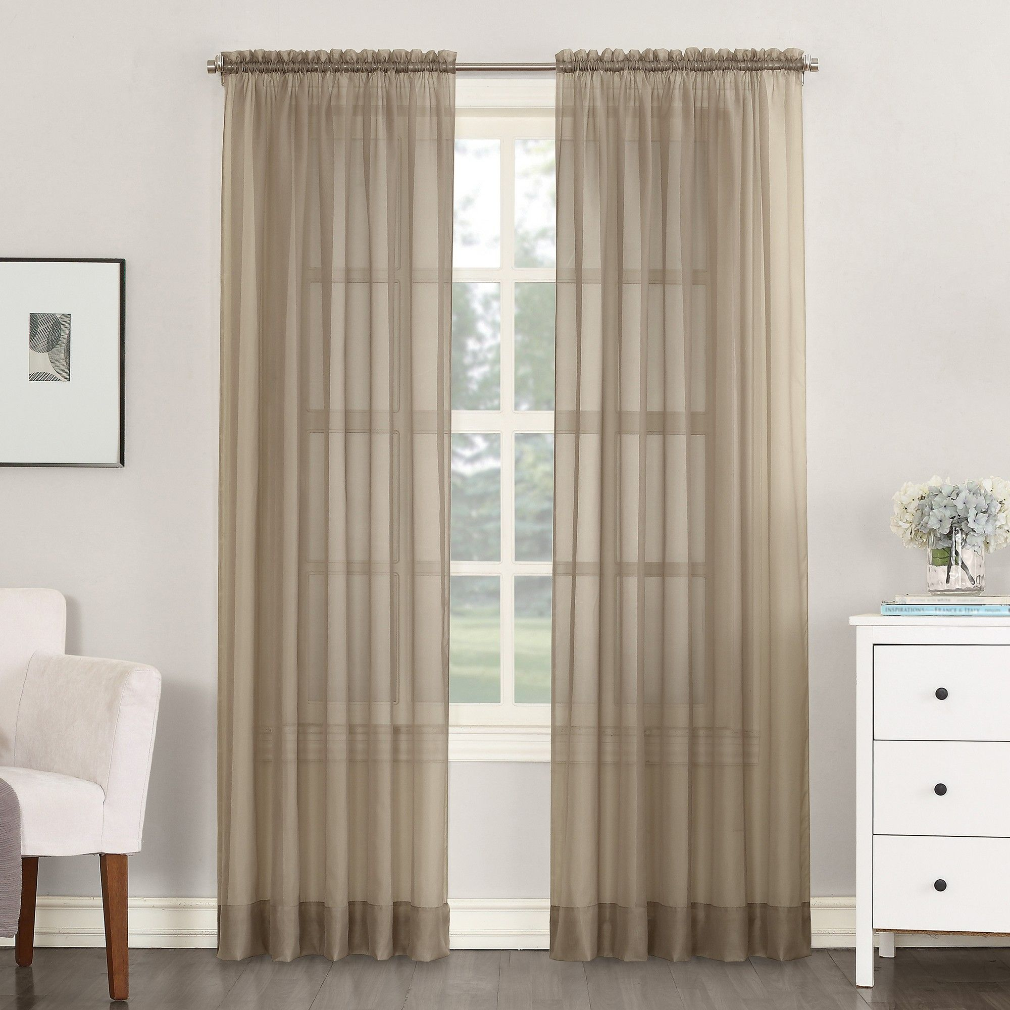 "Emily Sheer Voile Rod Pocket Curtain Panel Taupe 59""x108 Throughout Emily Sheer Voile Solid Single Patio Door Curtain Panels (View 4 of 20)"
